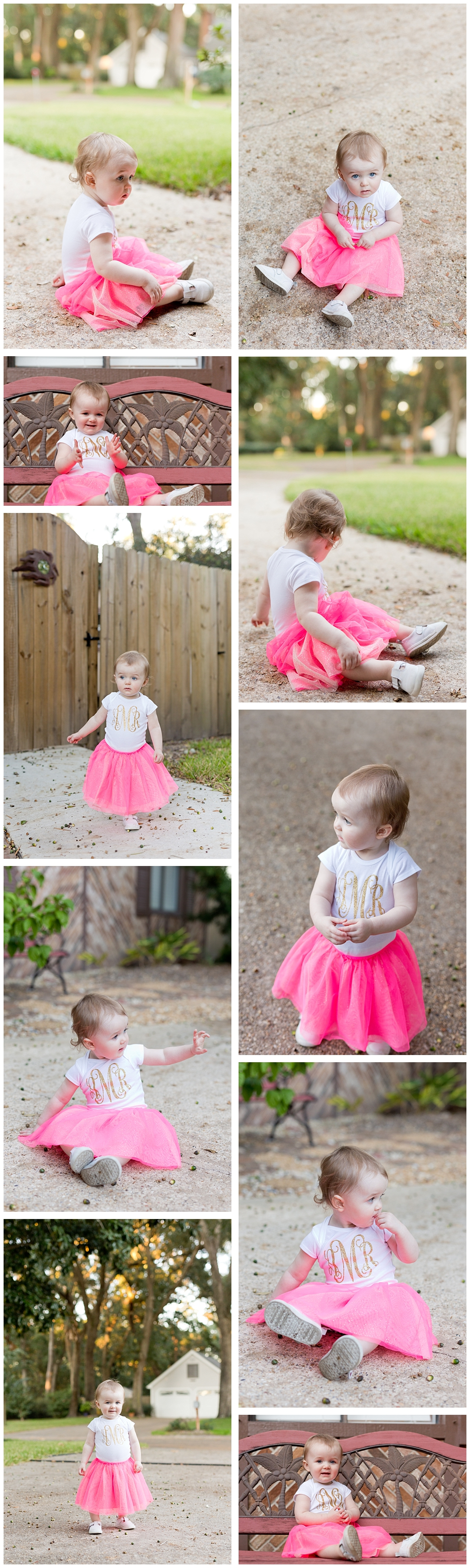 toddler girl in monogrammed onesie and pink tutu