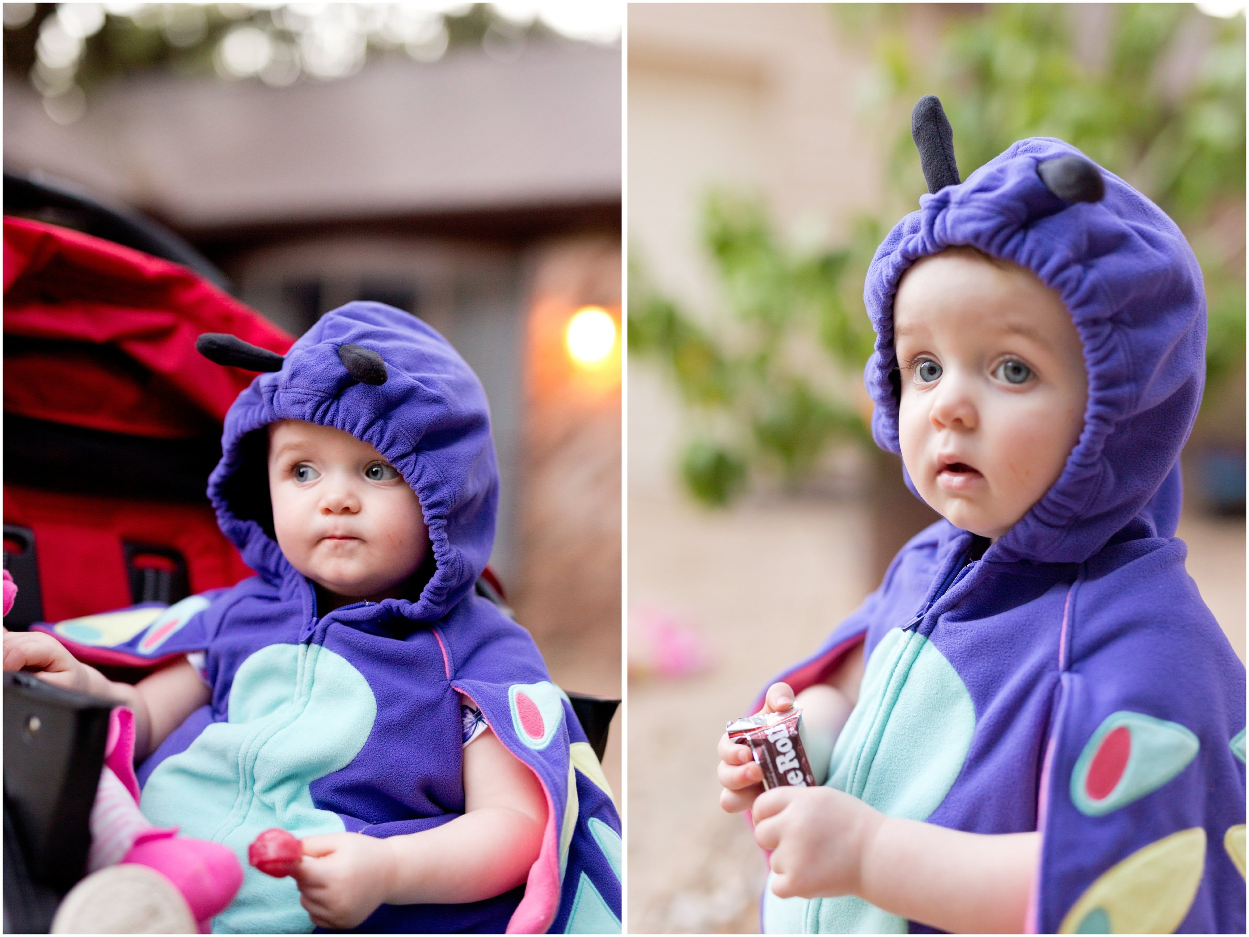 baby girl in butterfly costume with Halloween candy