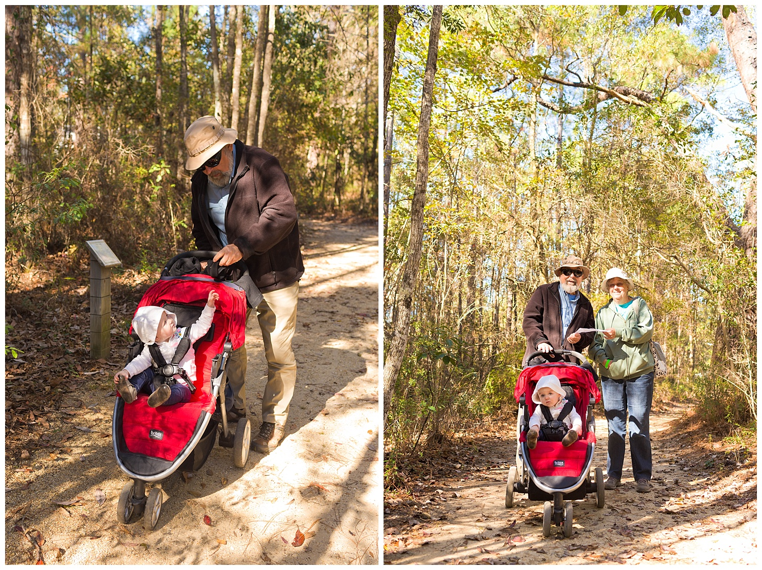 toddler girl in stroller on nature trail with grandparents