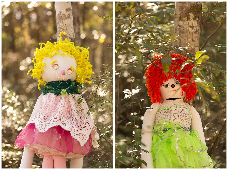 handmade folk dolls at heritage festival in Picayune, Mississippi
