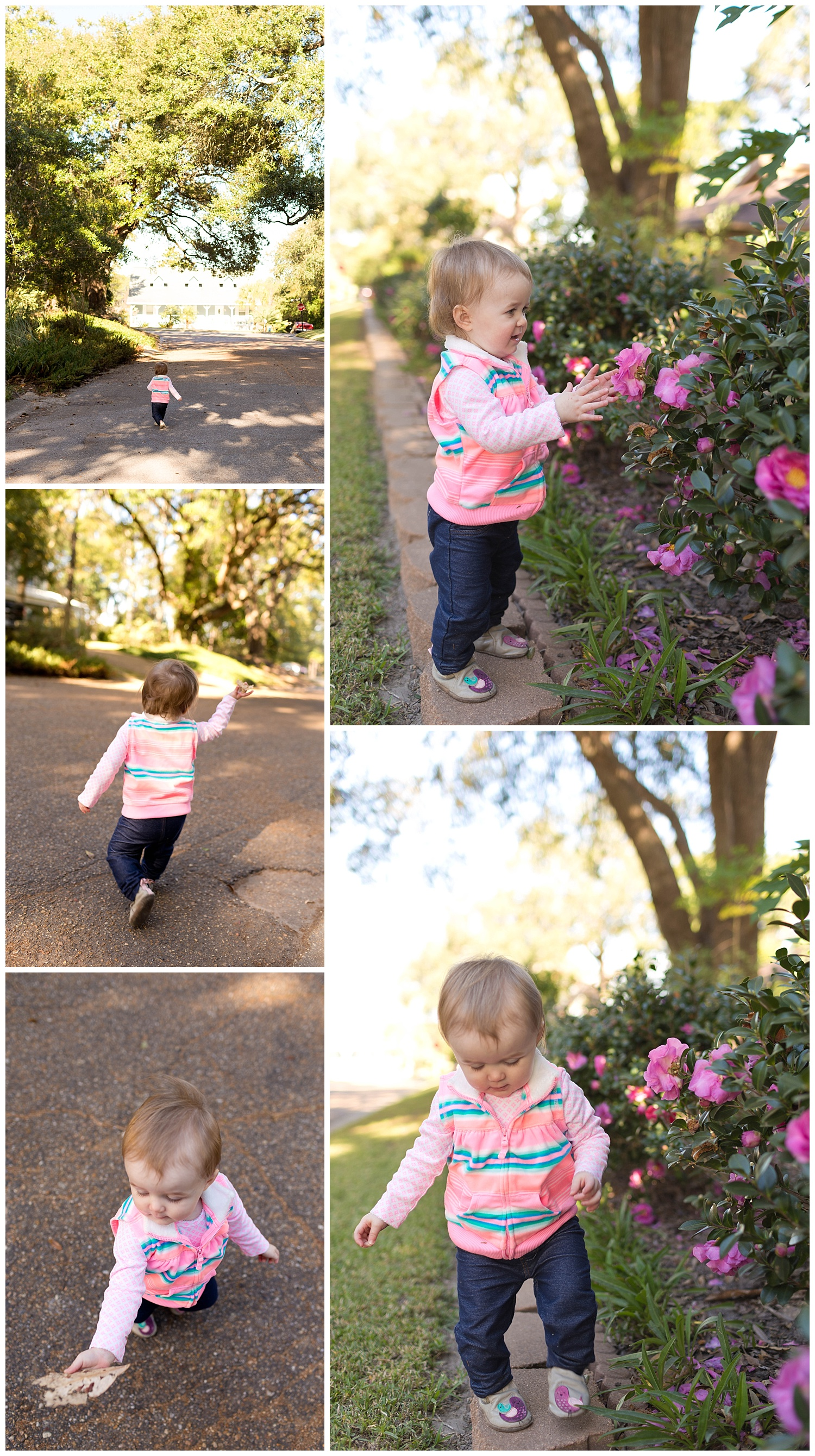 toddler girl with leaves and flowers