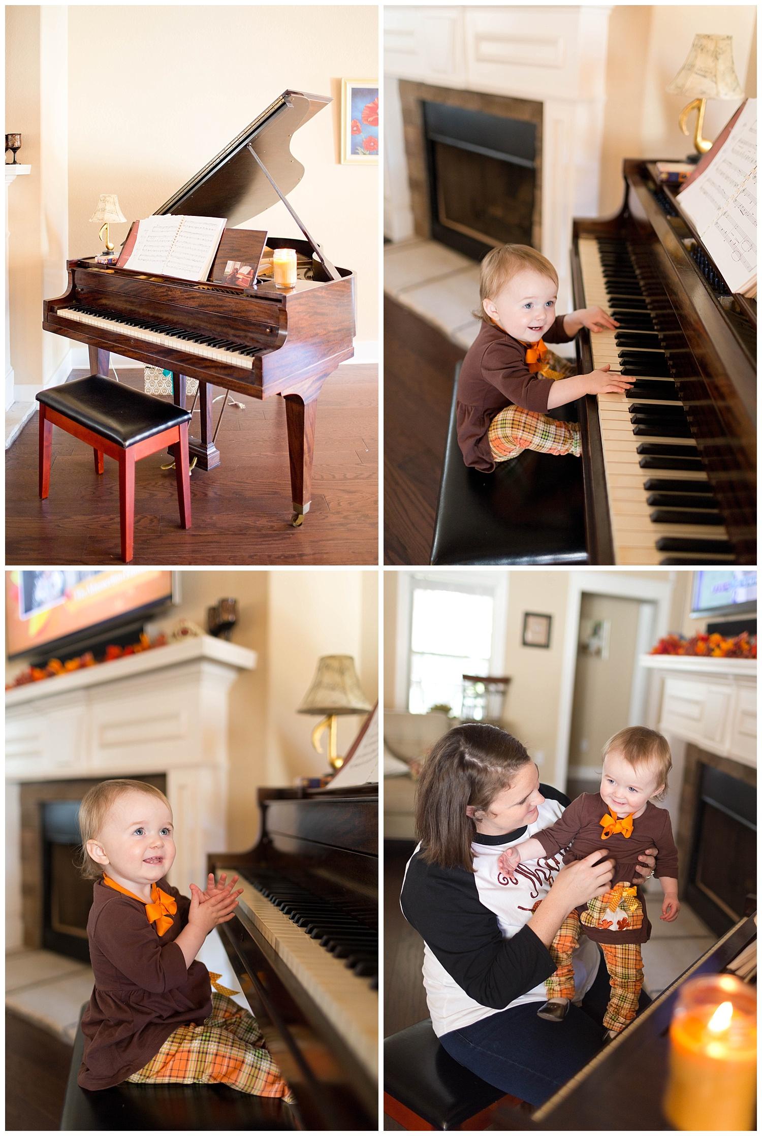 toddler girl playing grand piano