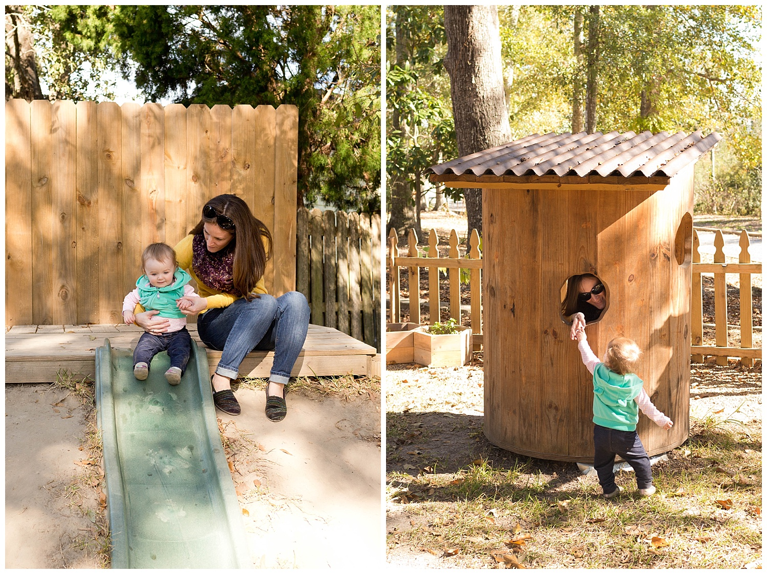 toddler girl and mom on playground