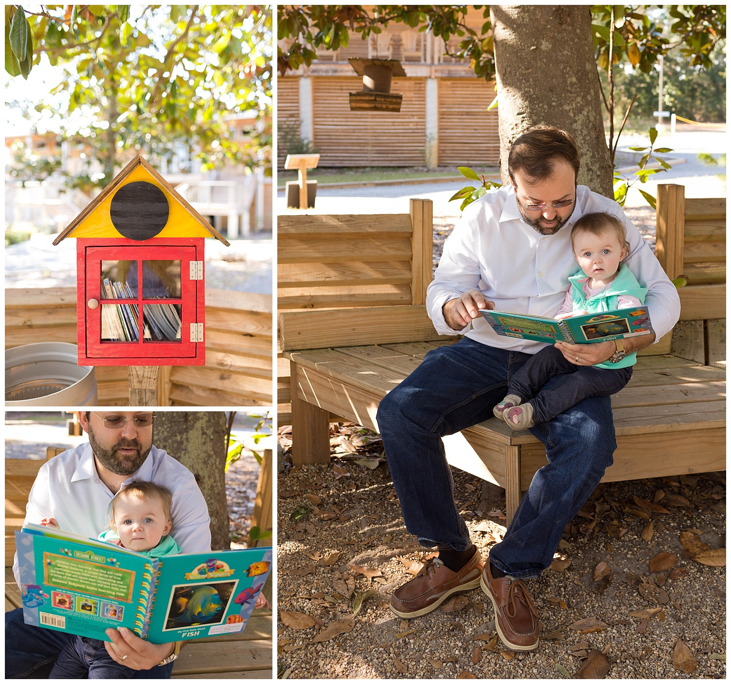 father and daughter at little free library