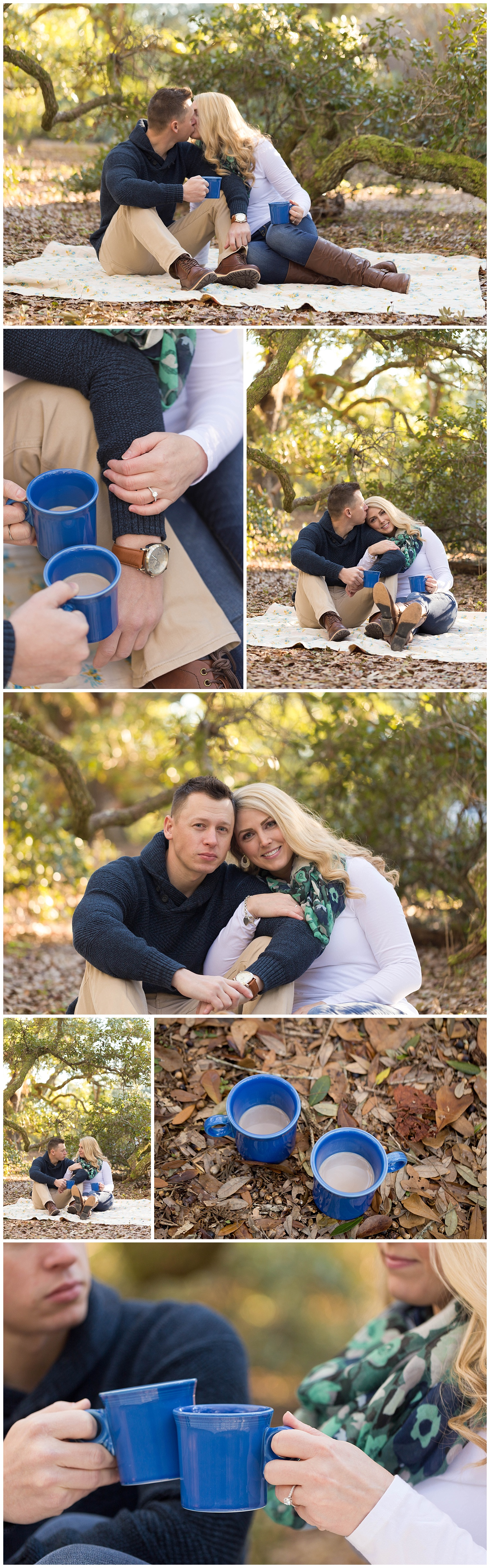 Ocean Springs engagement photos with mugs of hot cocoa live oak trees, couple kissing