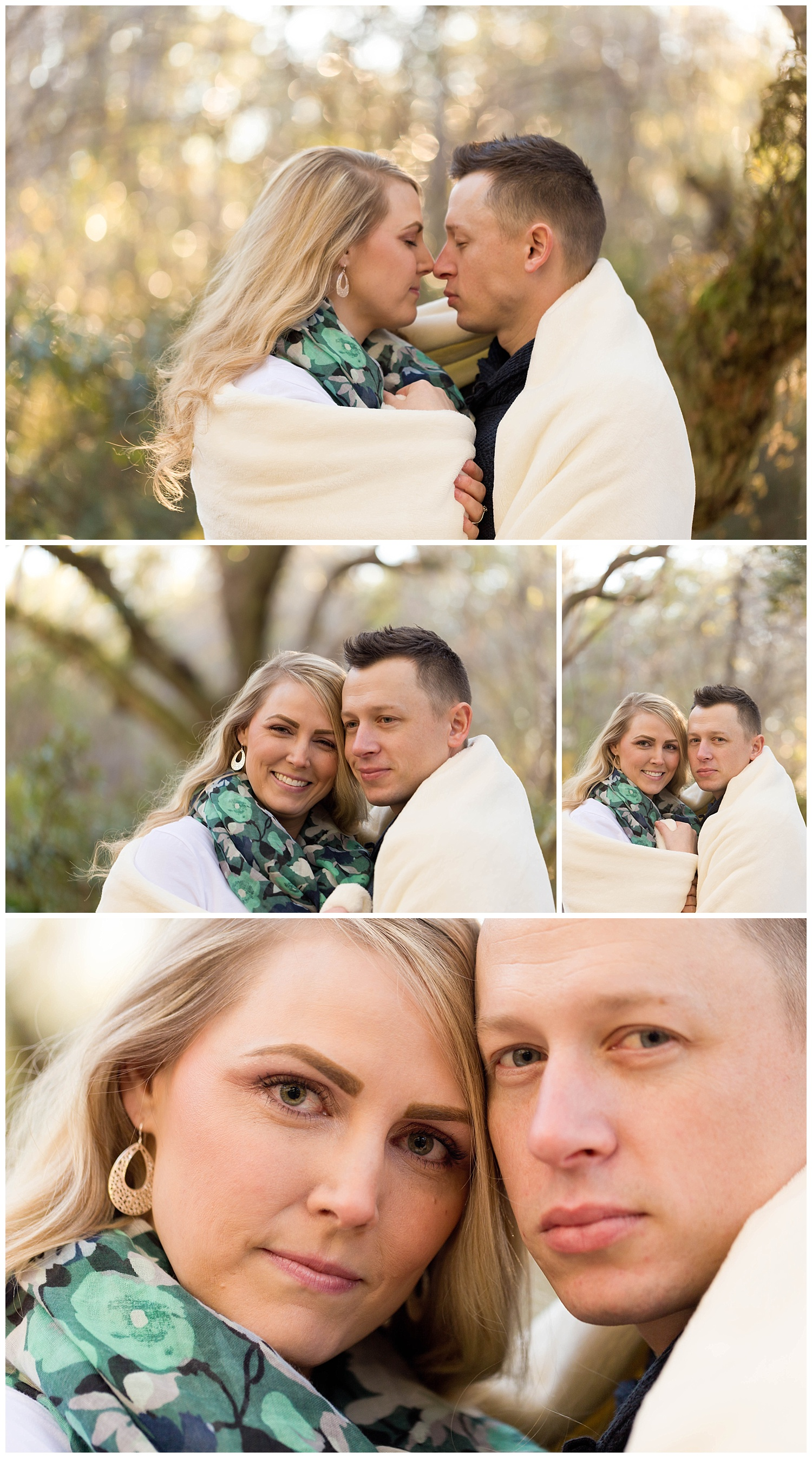 winter engagement photos with couple snuggled in warm blanket (Ocean Springs, Mississippi engagement photographer)
