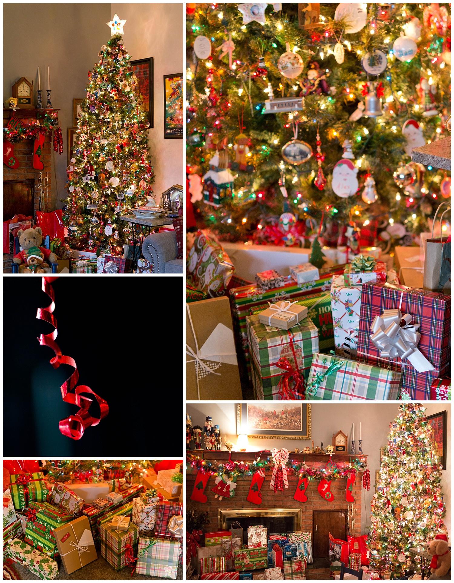 Christmas tree, gifts, ribbon, decorations