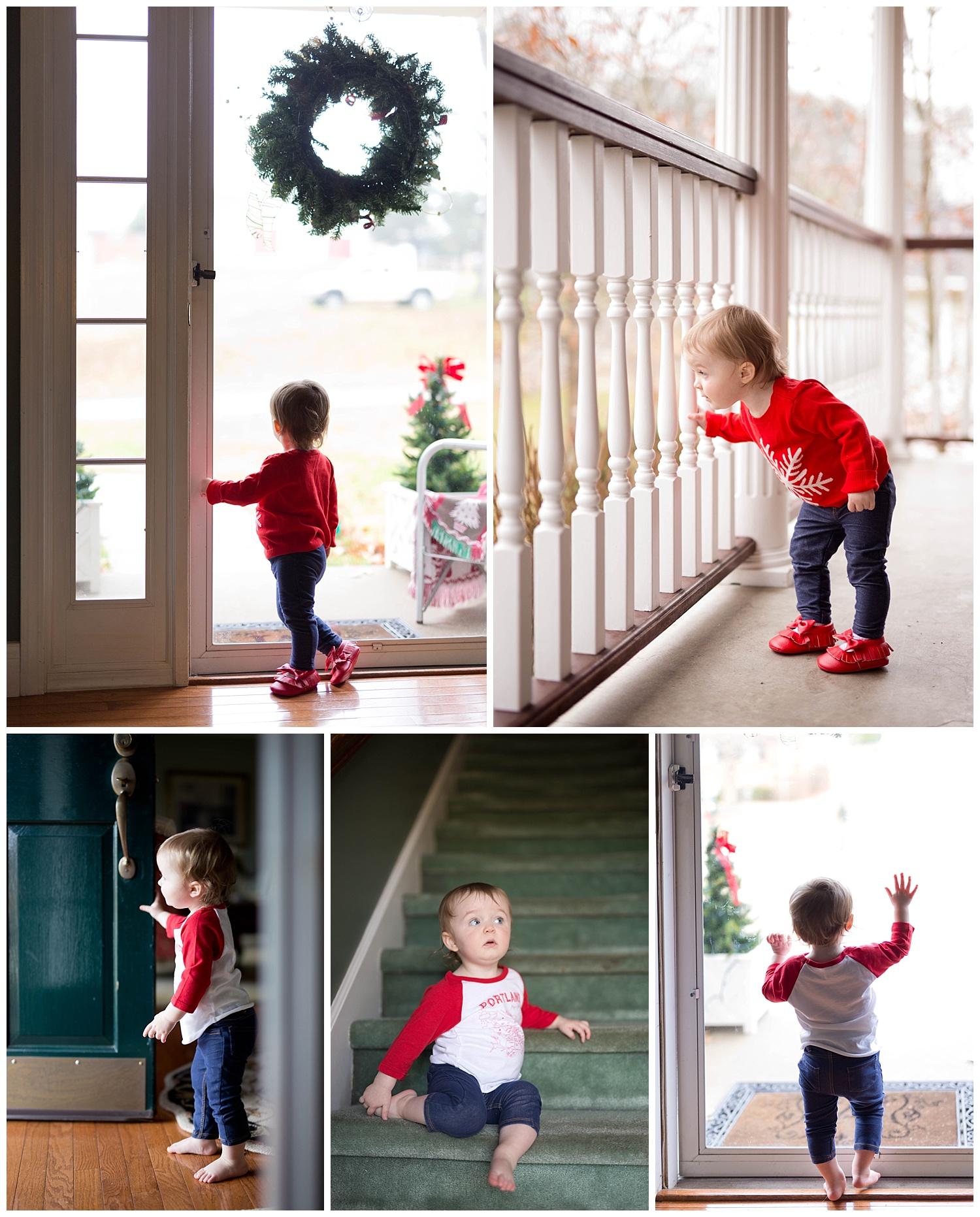 toddler exploring grandparents' house