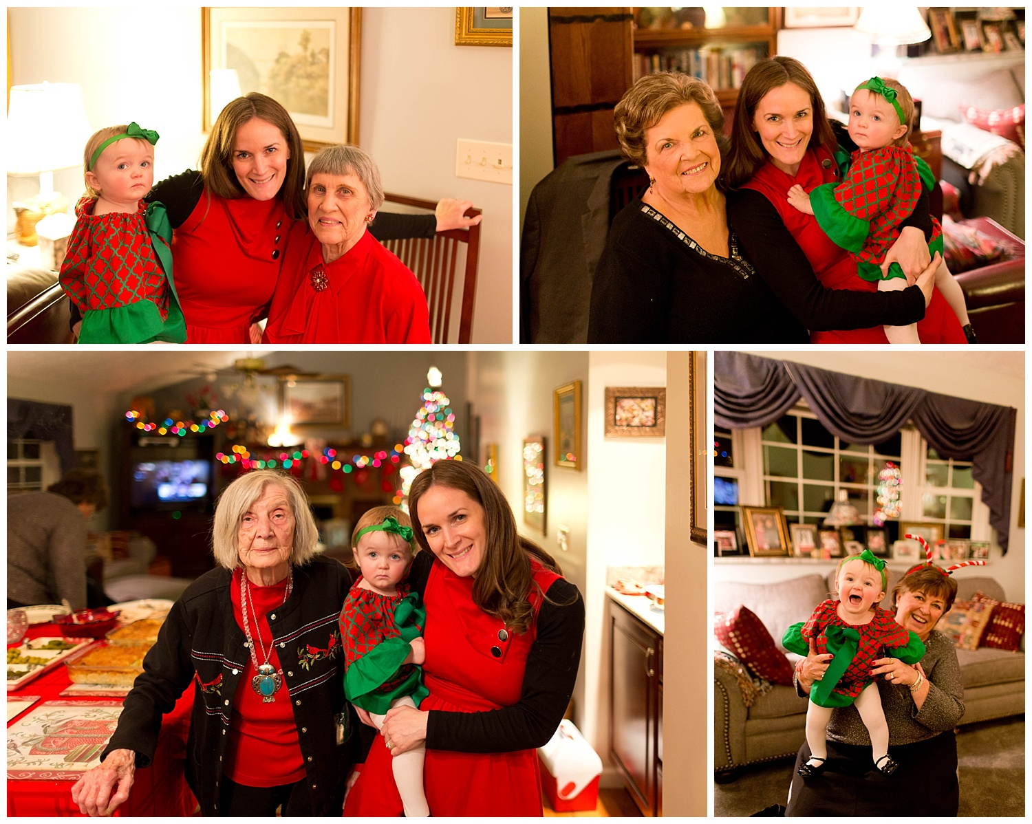 four generations of women at Christmas
