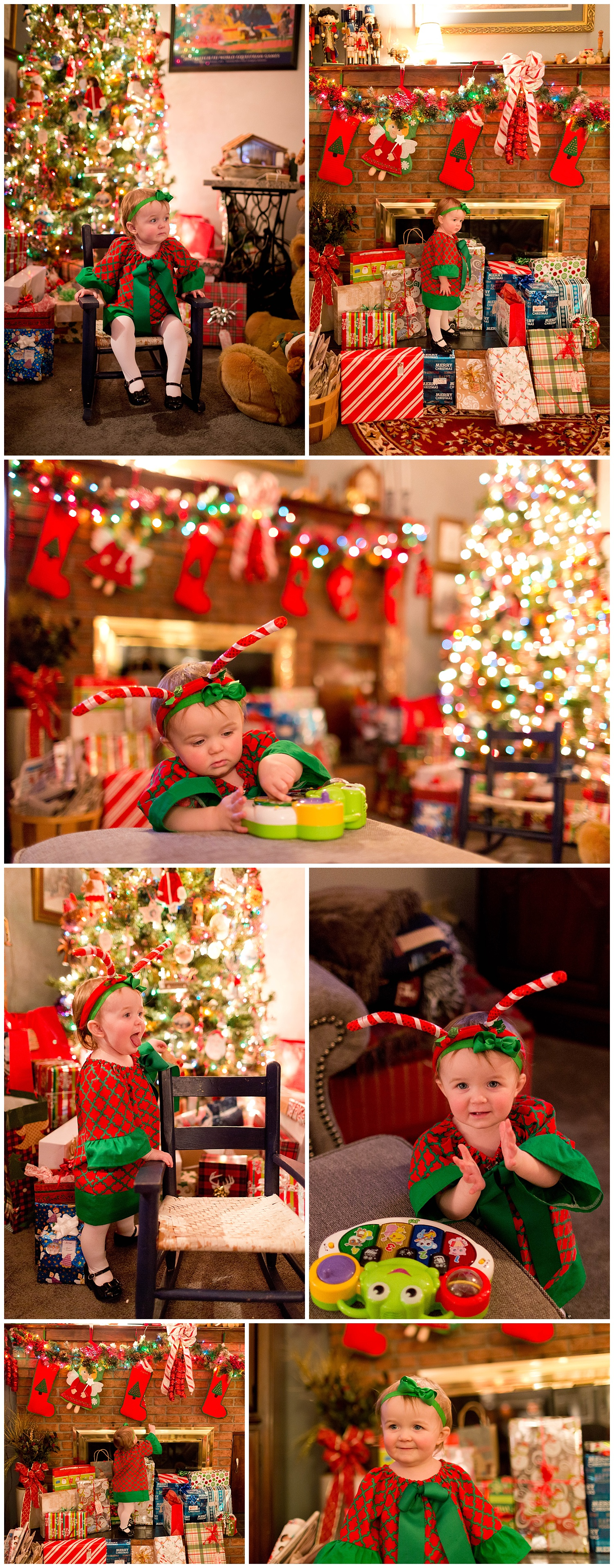 spunky baby girl on Christmas Eve with silly antlers