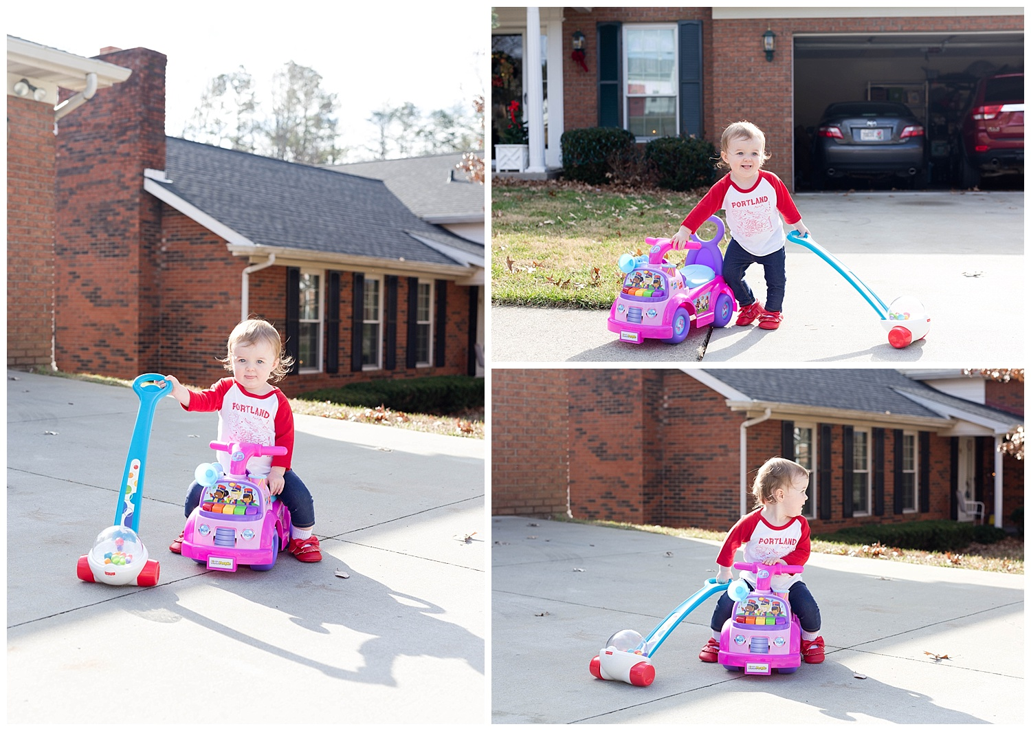 spunky toddler playing with new toys outside