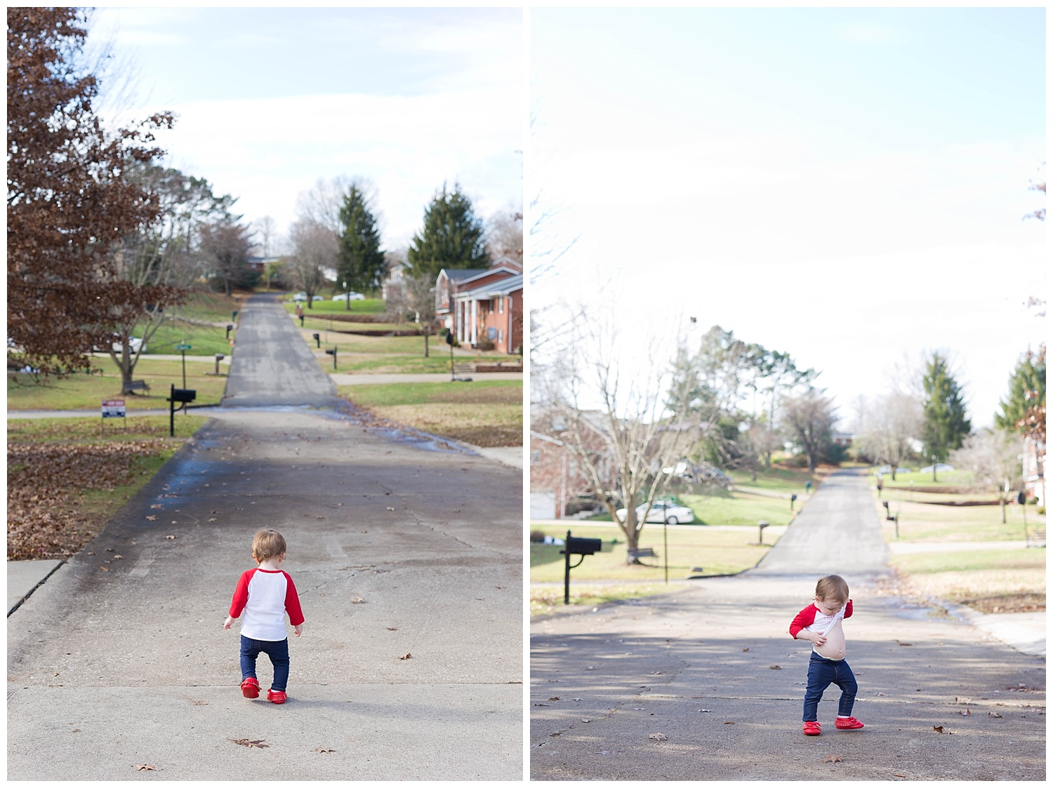 toddler playing in street outside