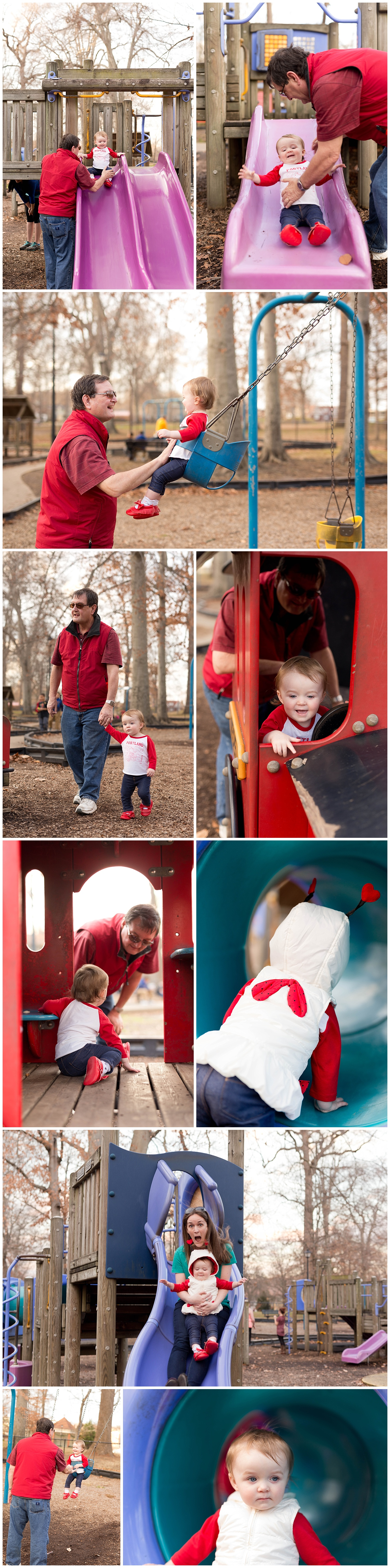 little girl playing at park with mom and grandfather (Central Park, Ashland, Kentucky)