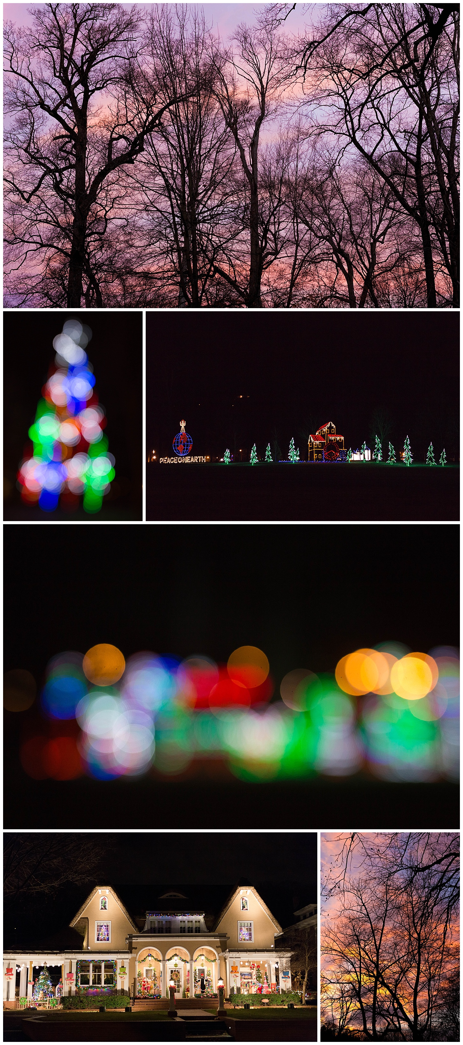 Christmas lights and sunset at Ashland, Kentucky Central Park