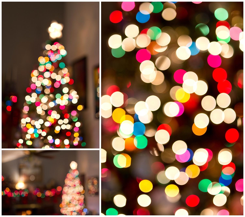 Christmas tree bokeh with colorful lights