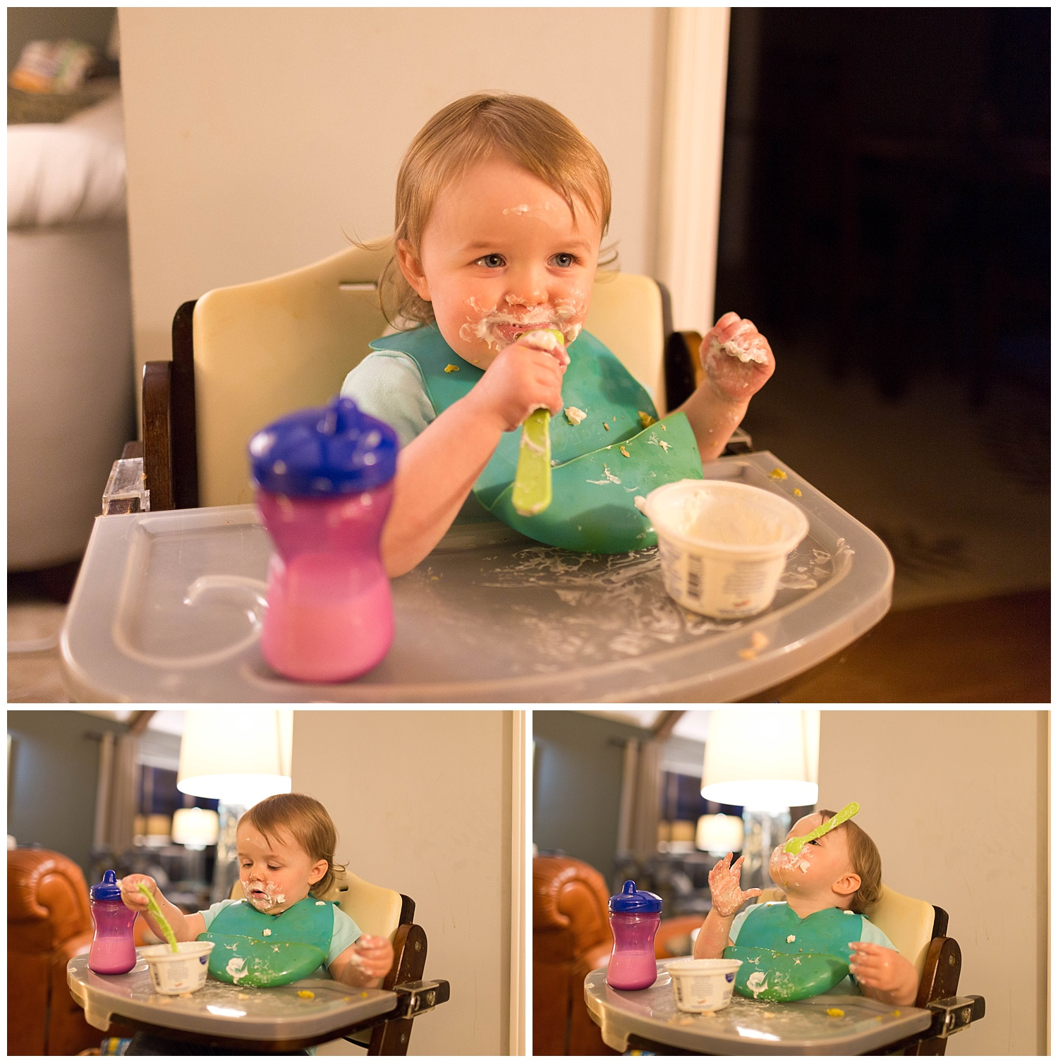 baby girl learning to eating with a spoon, making mess with yogurt