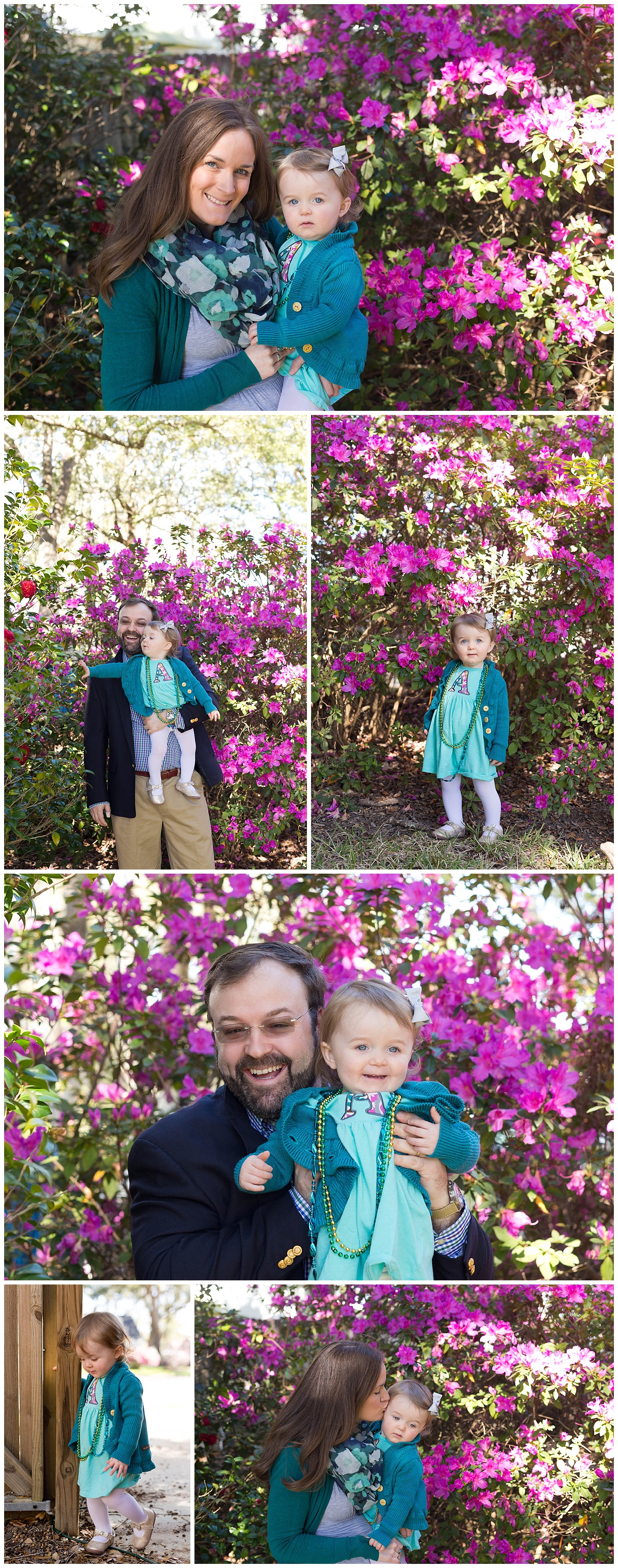 family photos with azalea bushes (Ocean Springs family photographer)