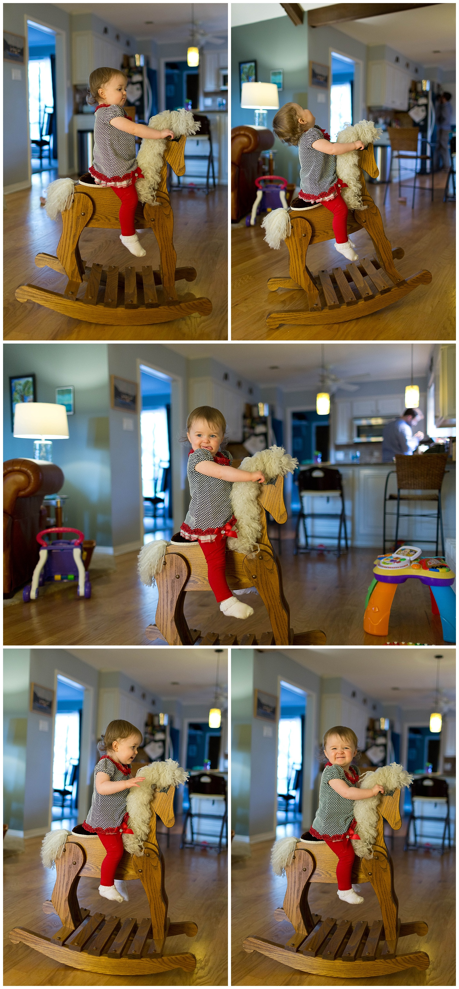 toddler girl playing on handmade wooden rocking horse toy at home (Ocean Springs lifestyle family photographer)