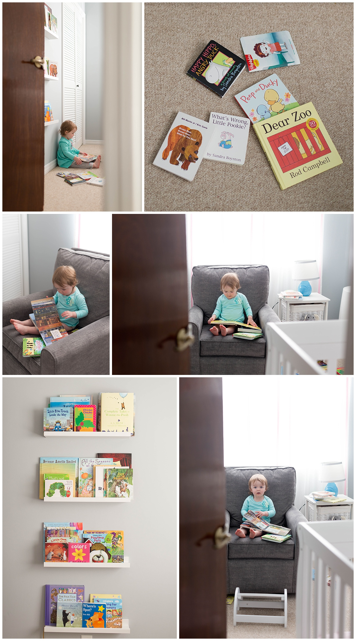 toddler girl playing with books in nursery (Ocean Springs lifestyle children's photographer)
