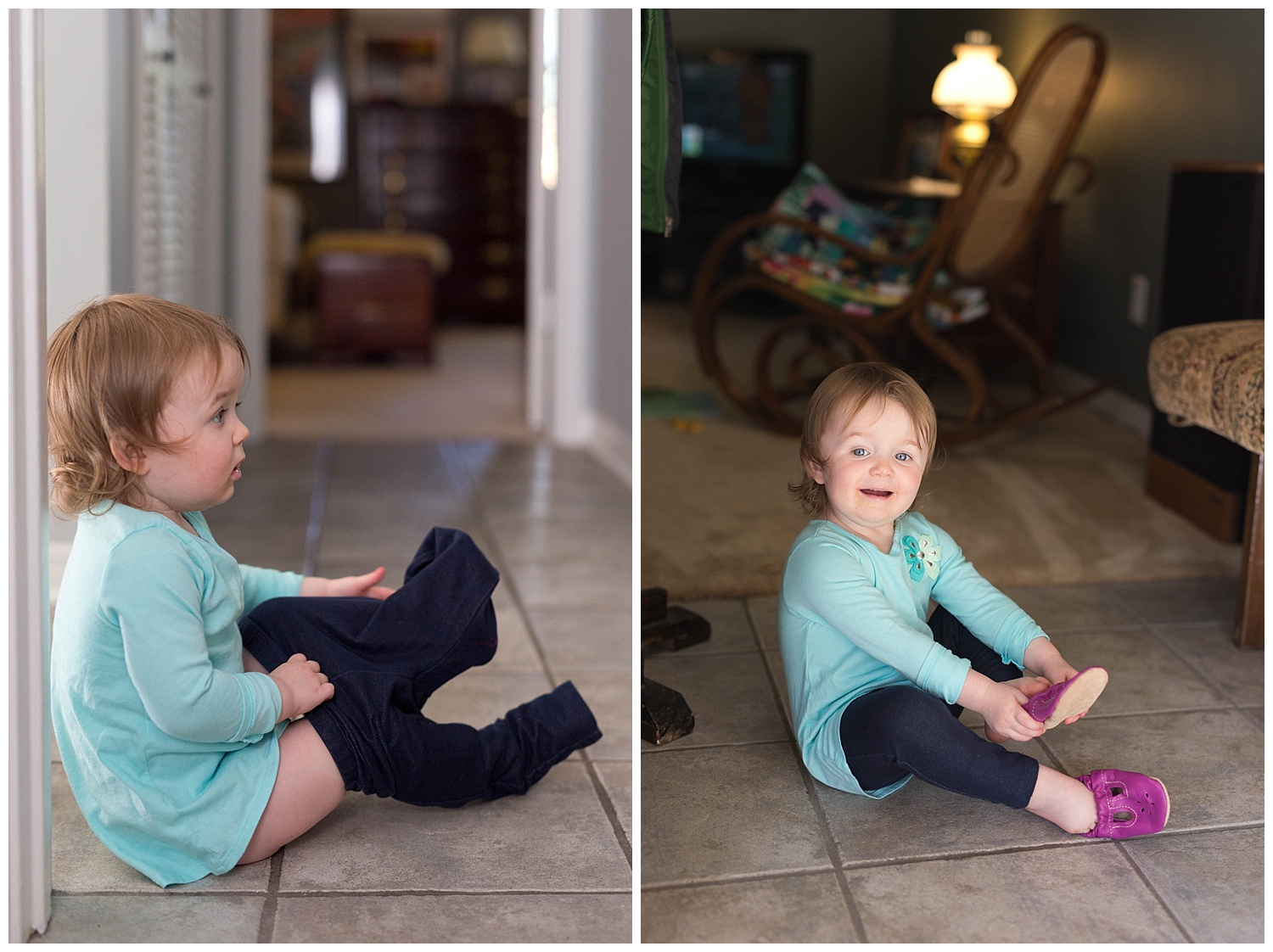 cute toddler learning to dress herself
