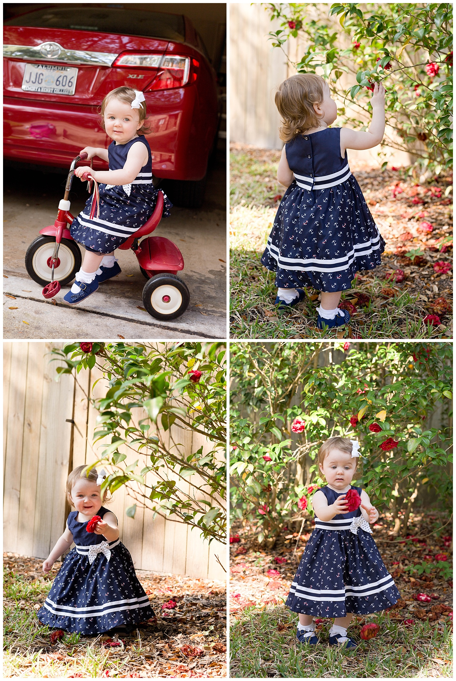 little girl in Anchor dress riding tricycle and picking camellias