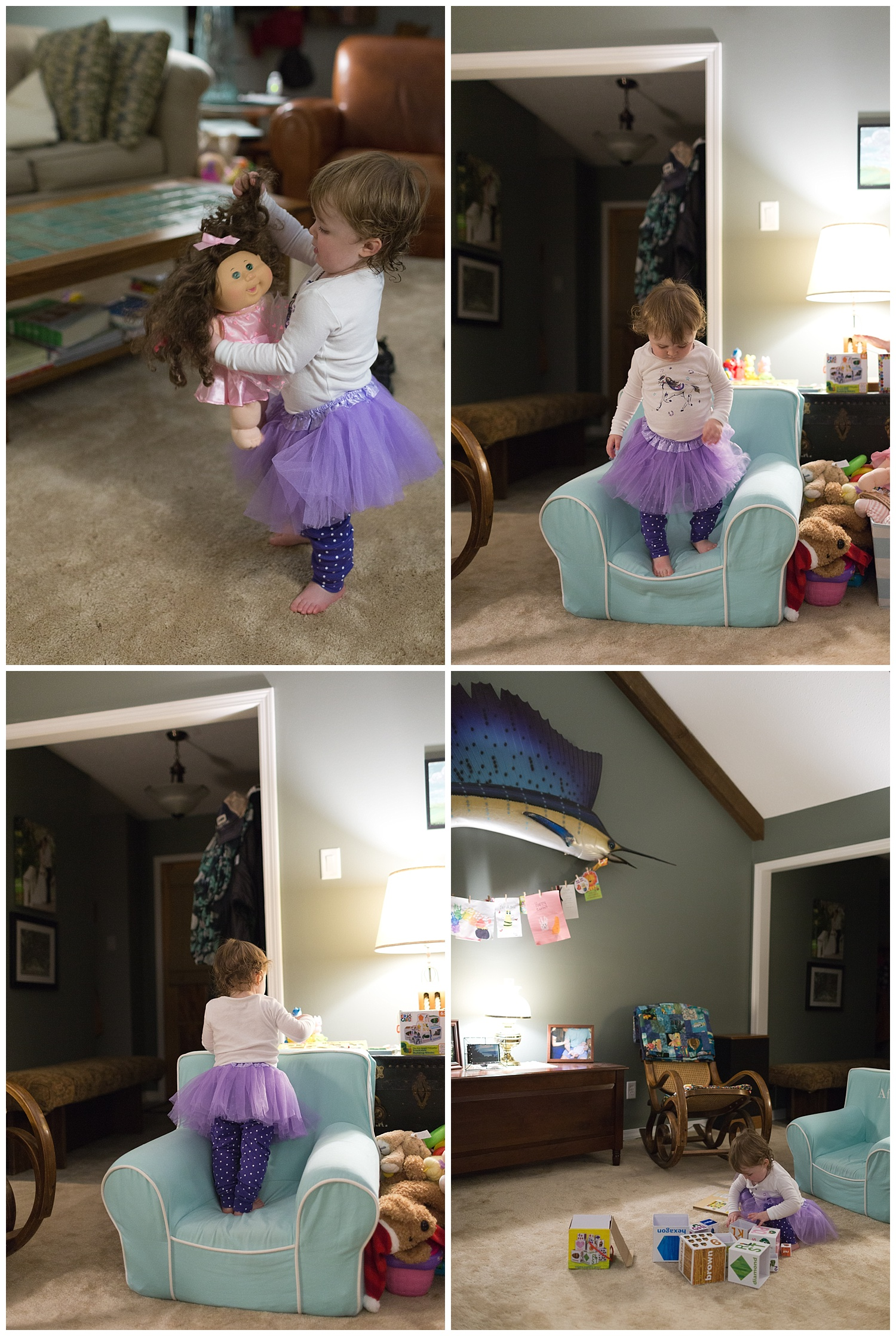 little girl in purple tutu with Cabbage Patch doll