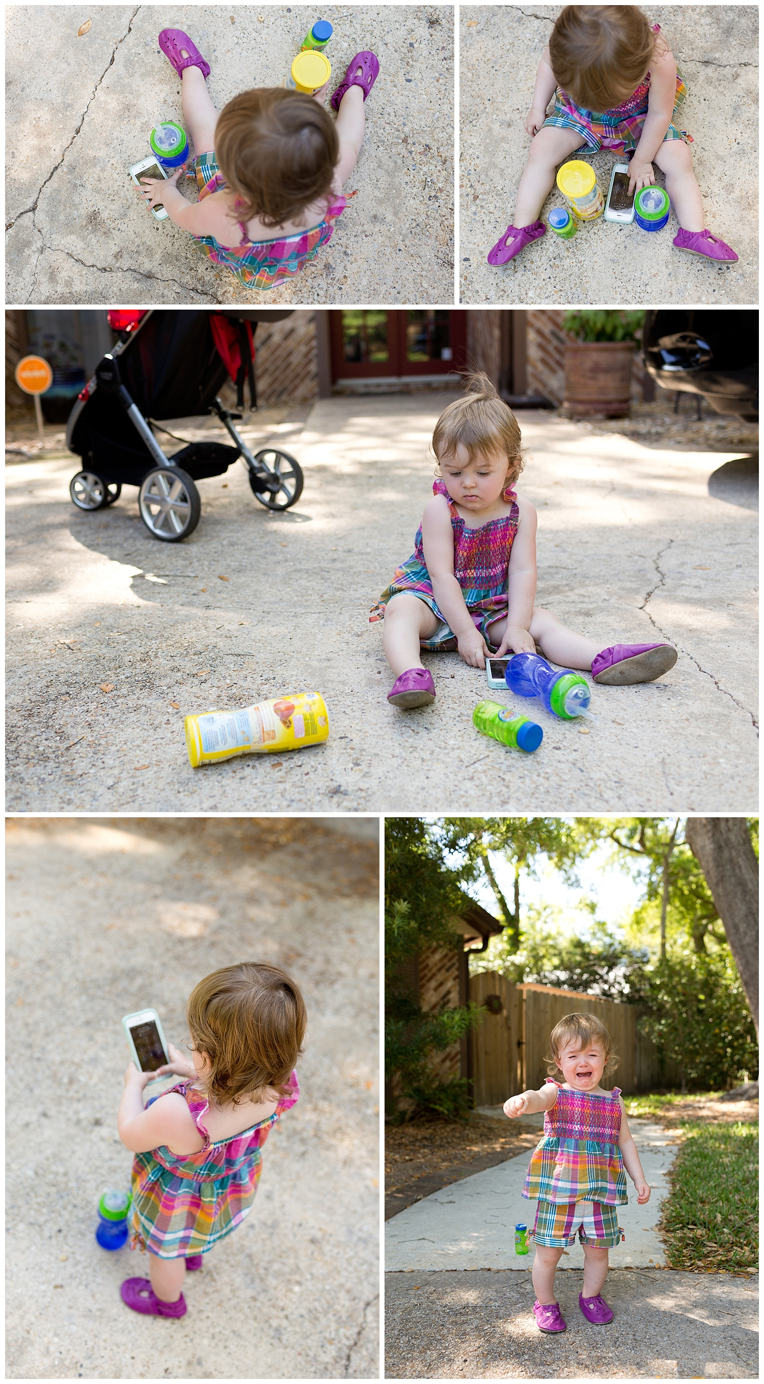 toddler playing with cell phone outside