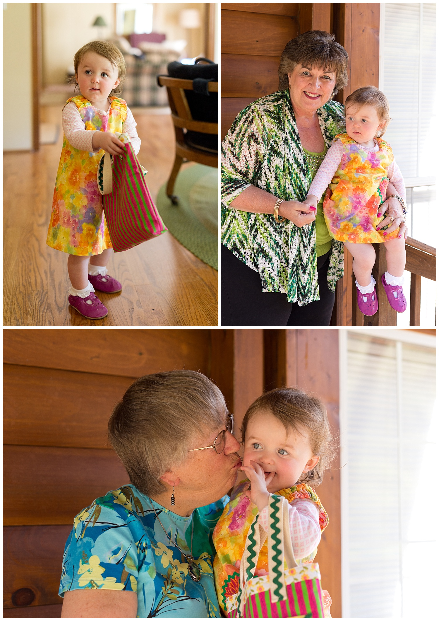 little girl in handmade dress with grandmothers