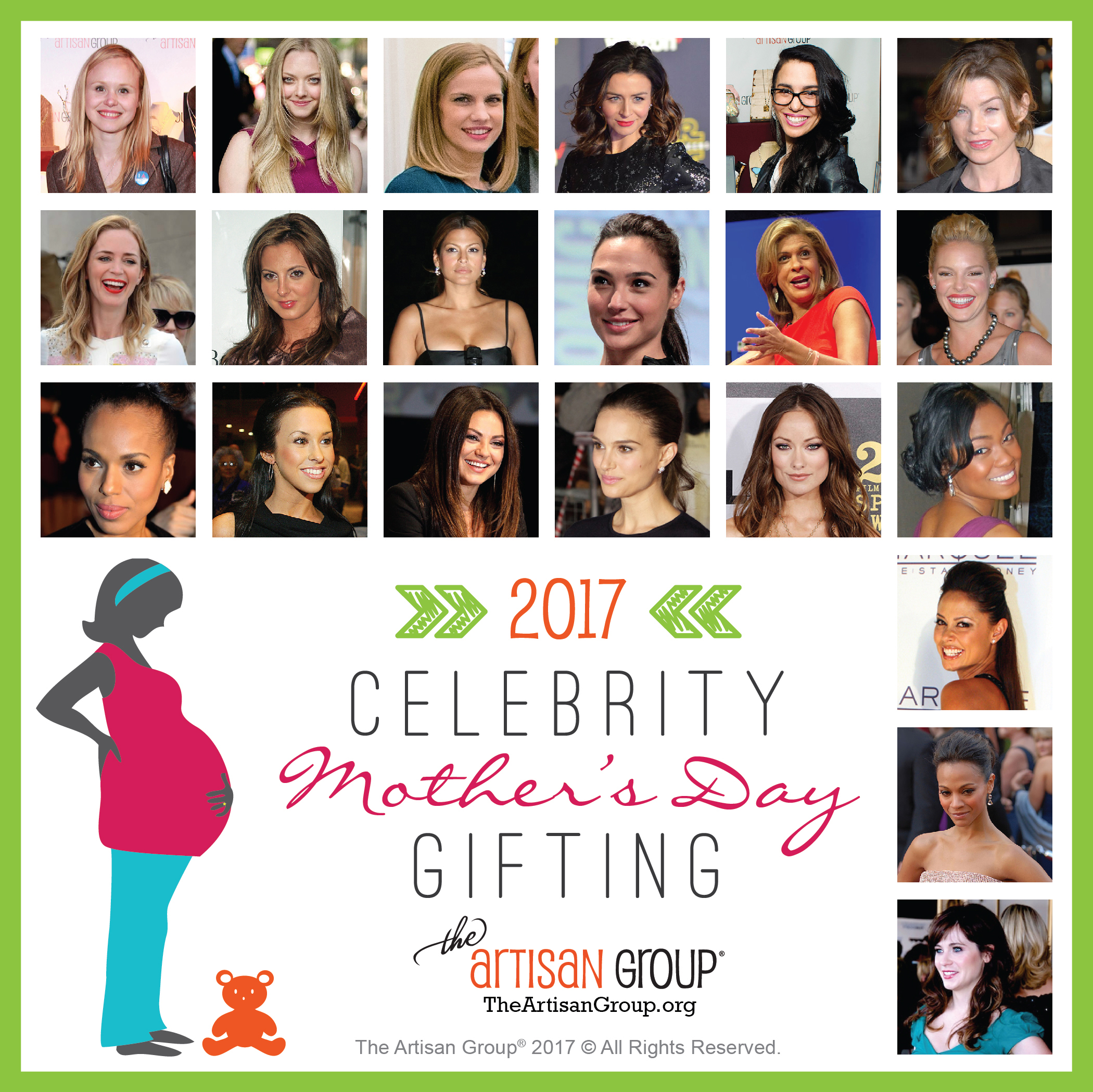 Celebrity List for The Artisan Group Mother's Day 2017 Gifting