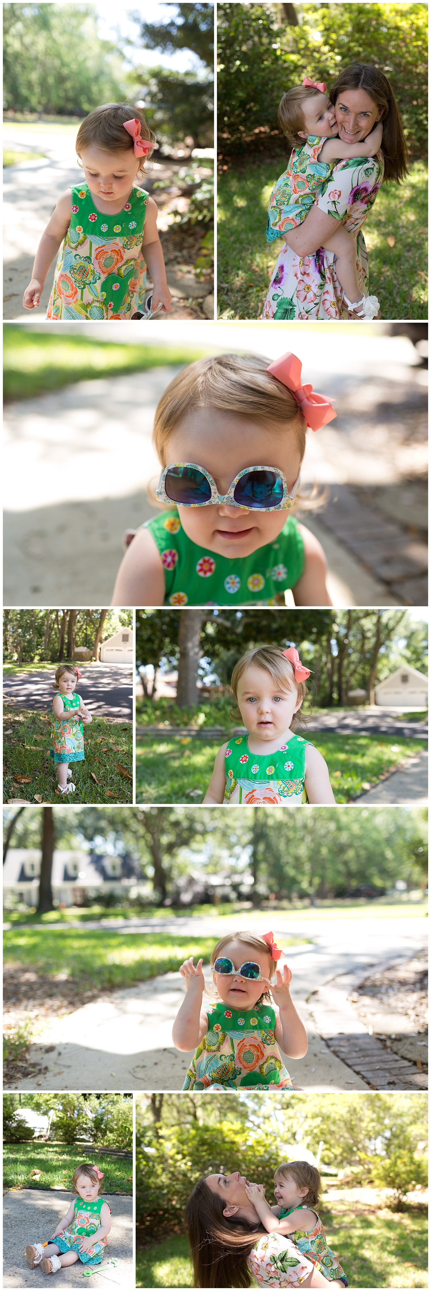 little girl in Unbroken Circle dress with sunglasses