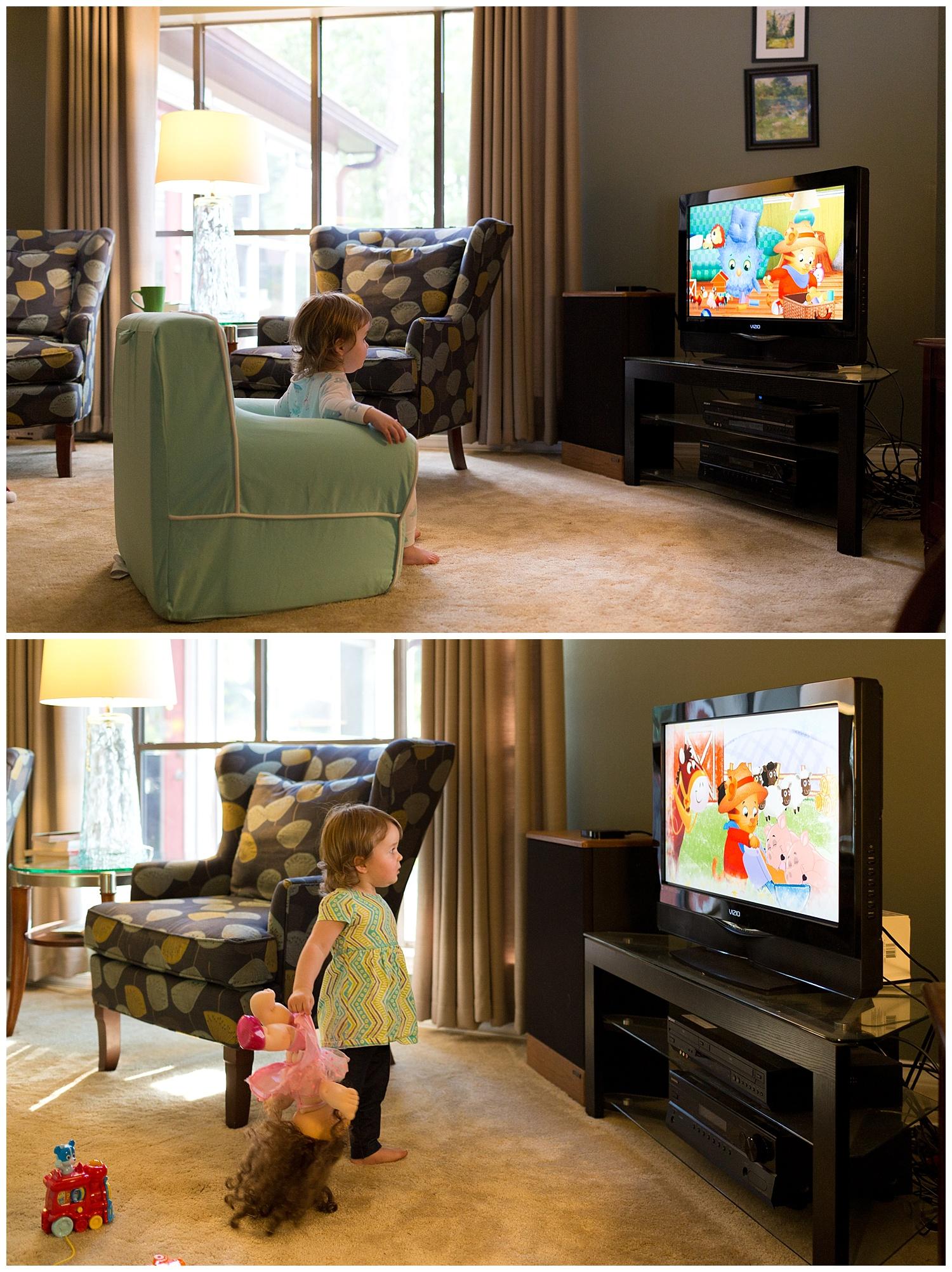 little girl watching Daniel Tiger's Neighborhood