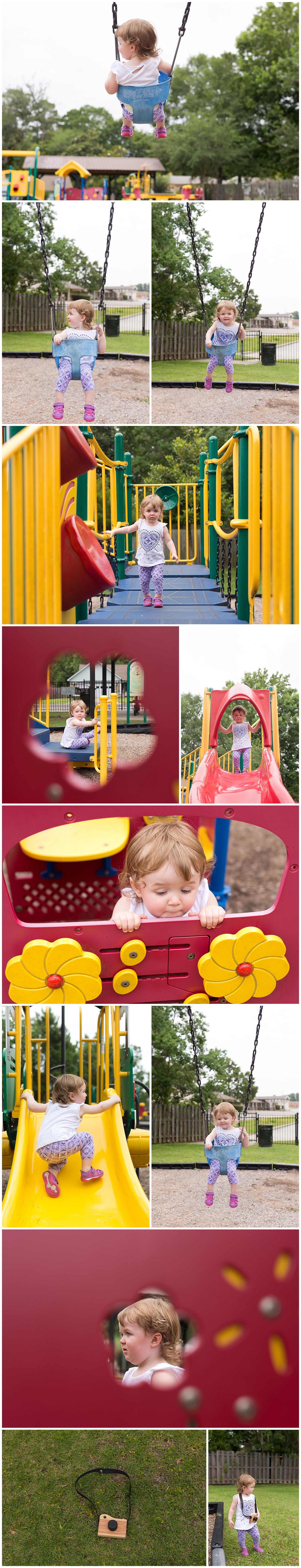 Ocean Springs family photographer - little girl on playground in Fort Bayou
