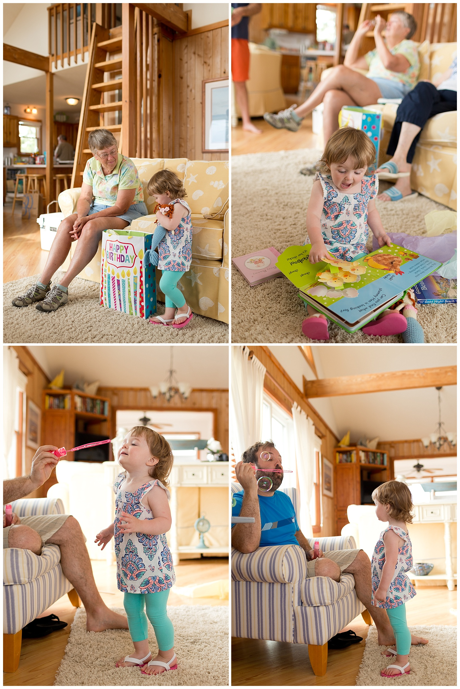 toddler girl opening birthday gifts from grandparents - pop-up book and bubbles