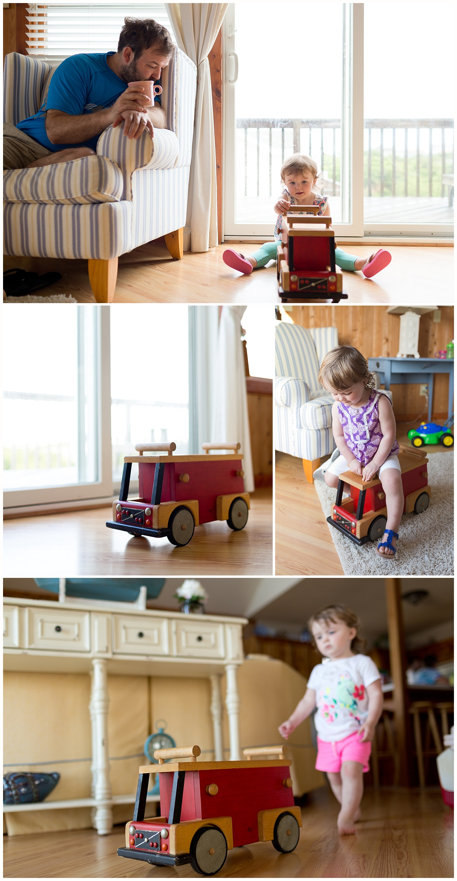 little girl with vintage handmade wooden fire engine toy