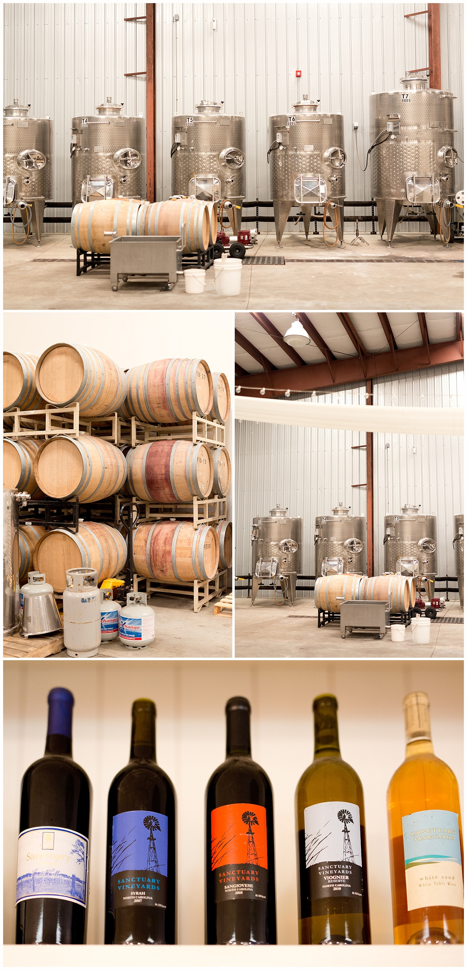 wine barrels and bottles at Sanctuary Vineyards - North Carolina wine