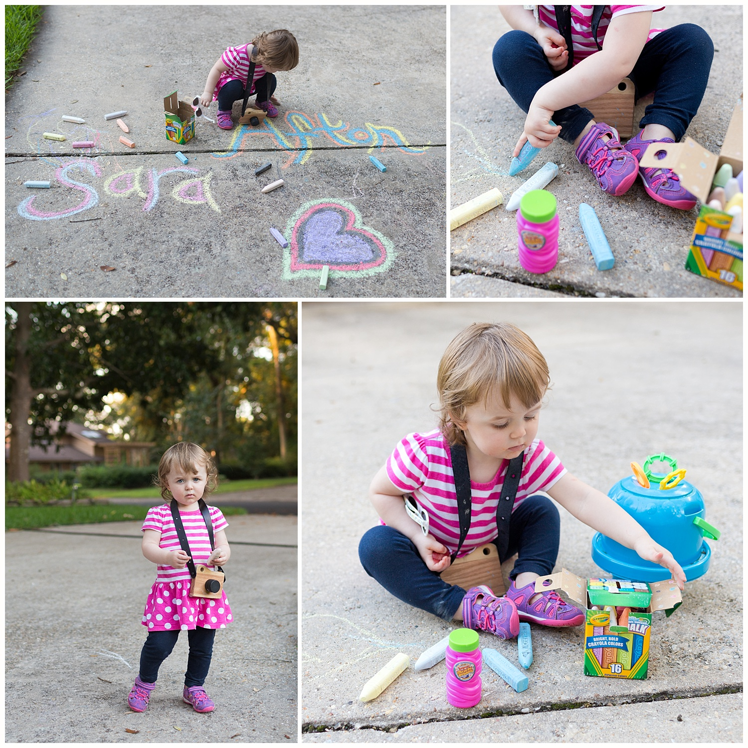little girl playing with sidewalk chalk, bubbles, toy camera
