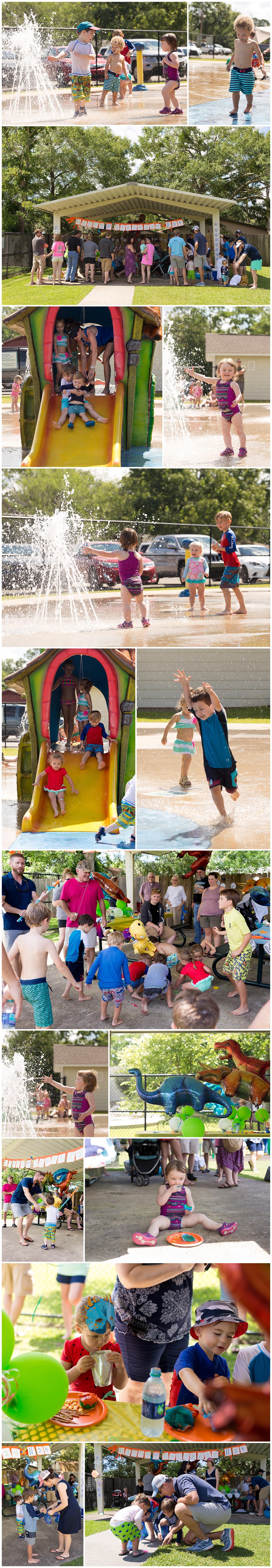 kid's dinosaur birthday party at Ocean Springs Splash Park