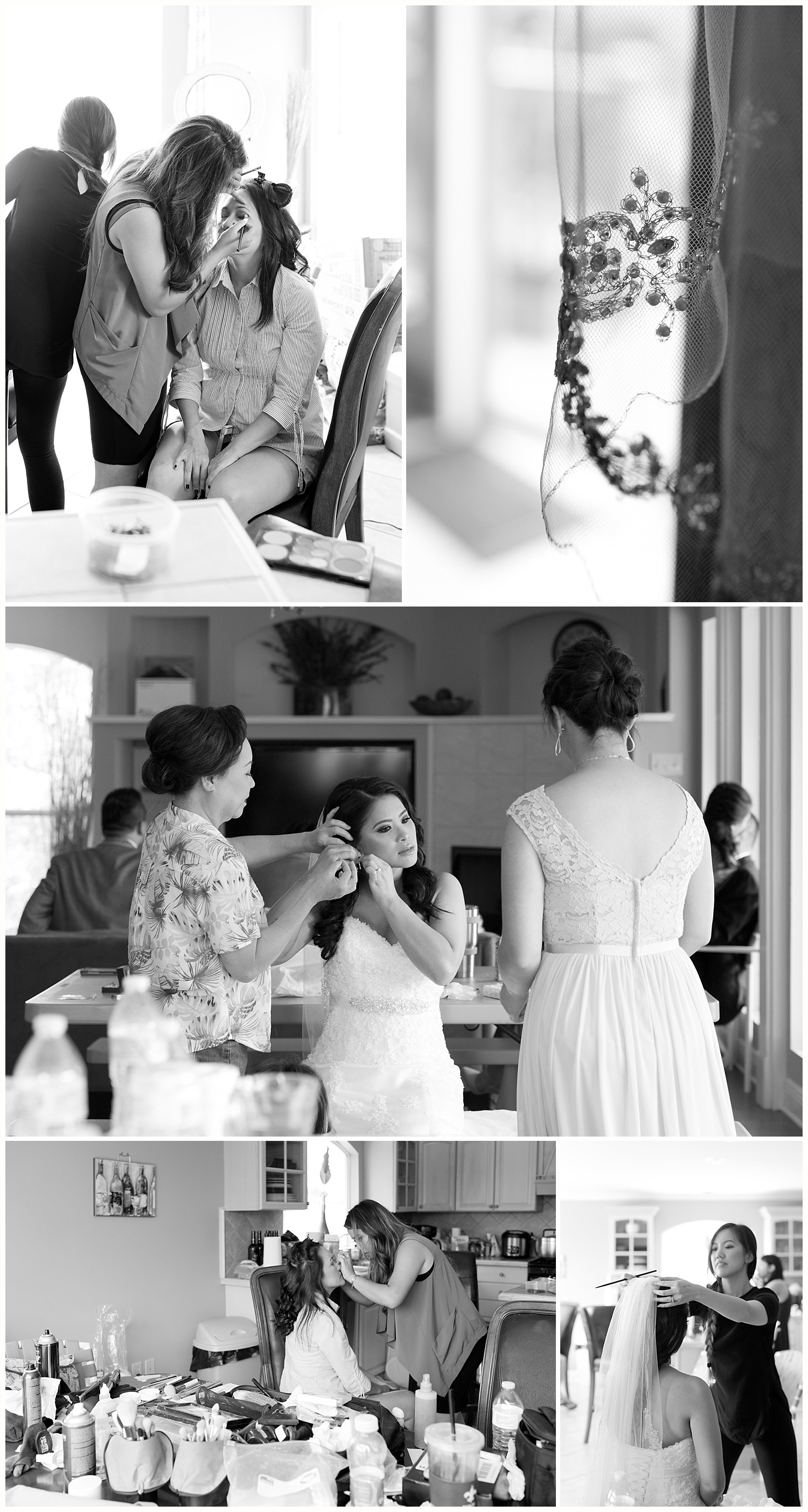 bride and bridesmaids getting ready - wedding preparation photos - New Orleans wedding photographer