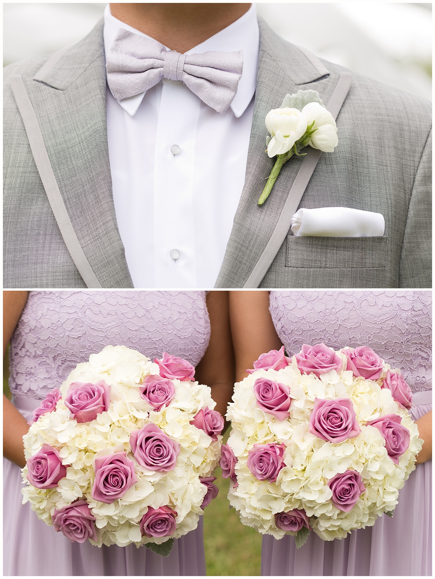 pink, white, gray wedding bouquets and boutonniere (wedding detail photos by New Orleans wedding photographer Uninvented Colors Photography)