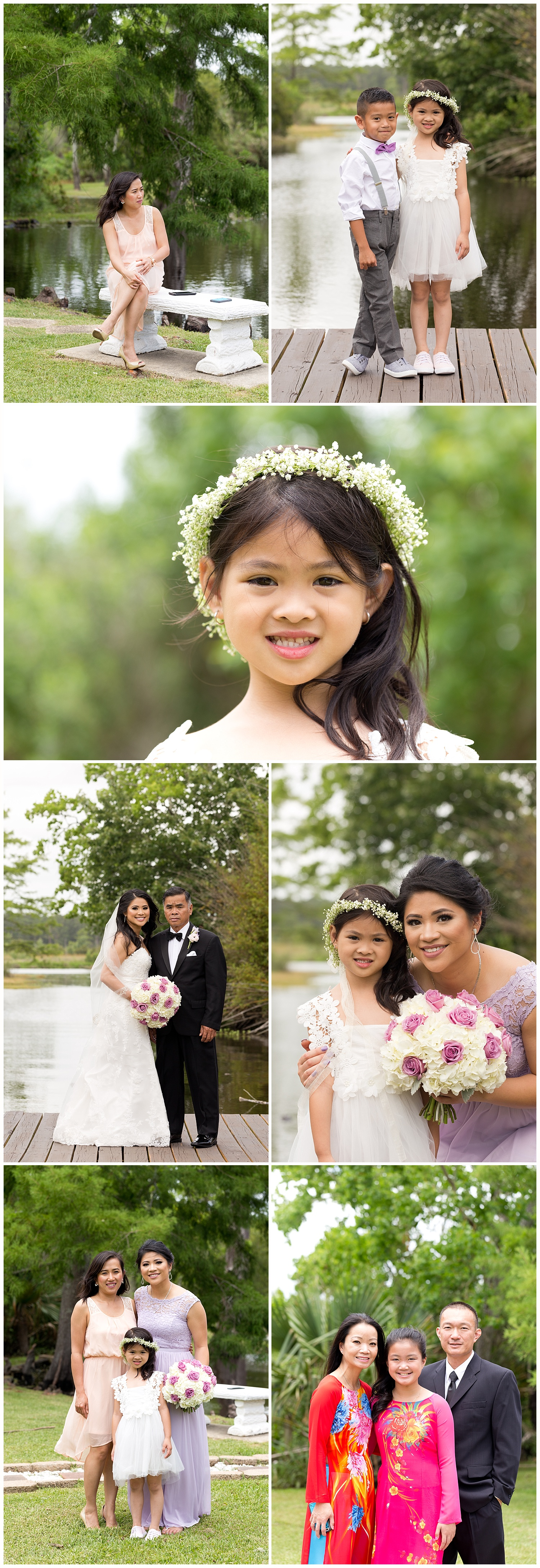 flower girl with flower crown, family photos at New Orleans wedding
