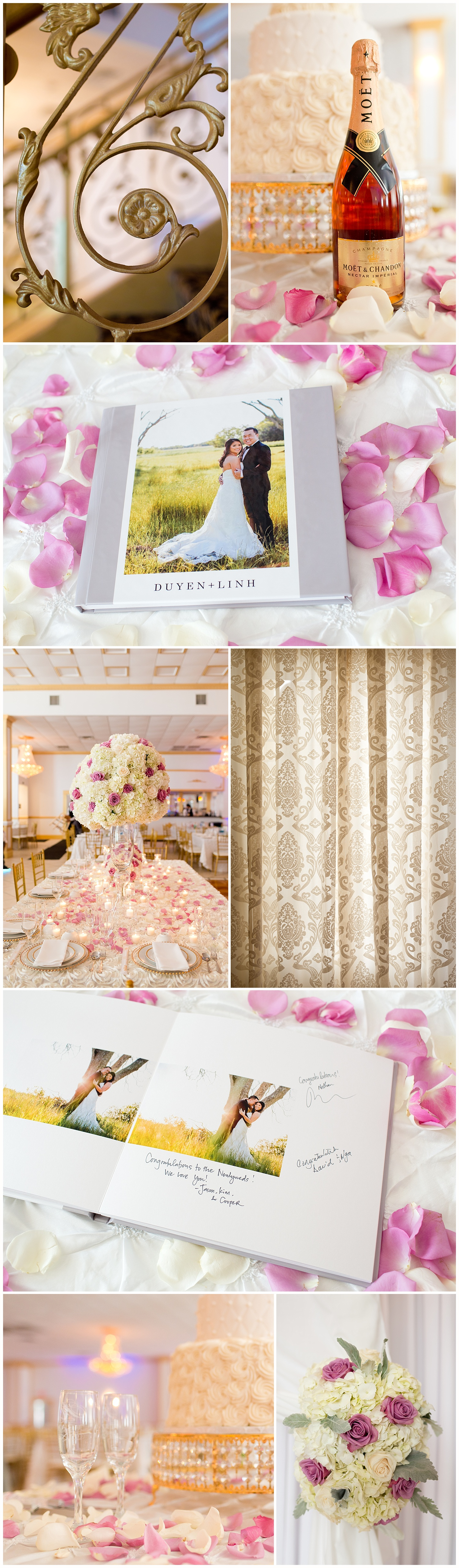 pink and white wedding reception details - champagne, rose petals, guest book