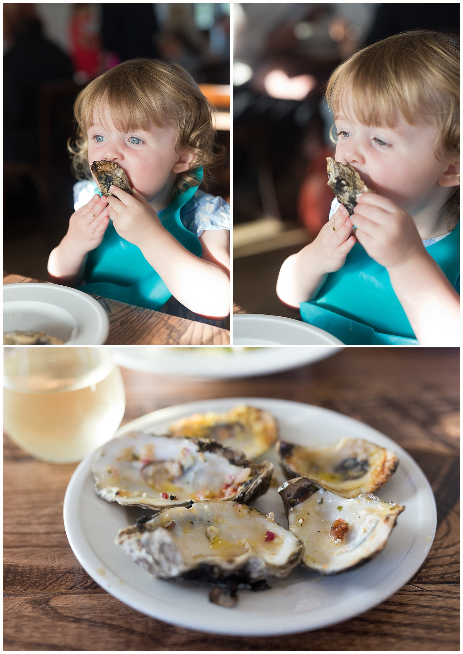 Brady's Steak and Seafood in Pascagoula, Mississippi (toddler girl eating oysters)
