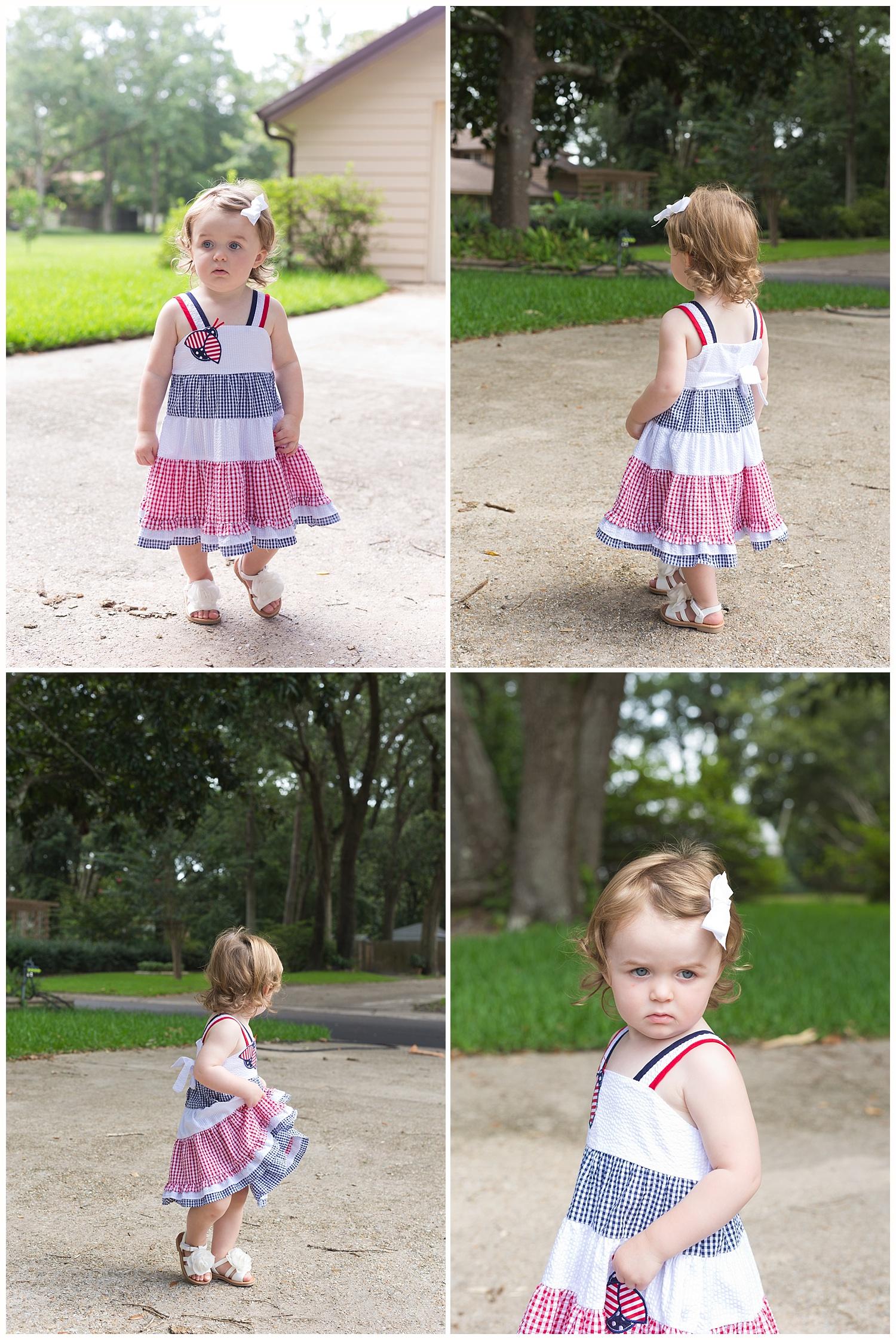 2-year-old girl in patriotic dress