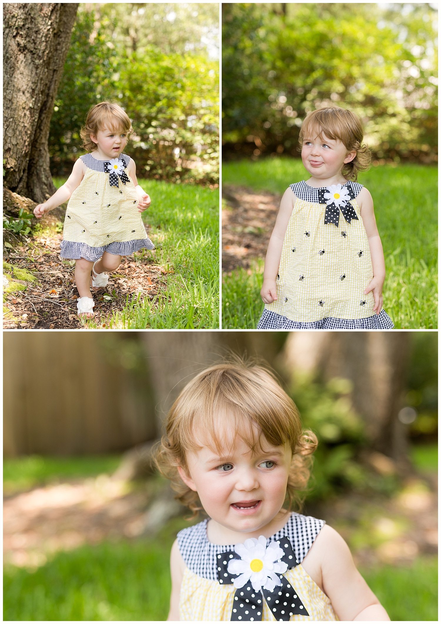 toddler girl in cute bumblebee dress