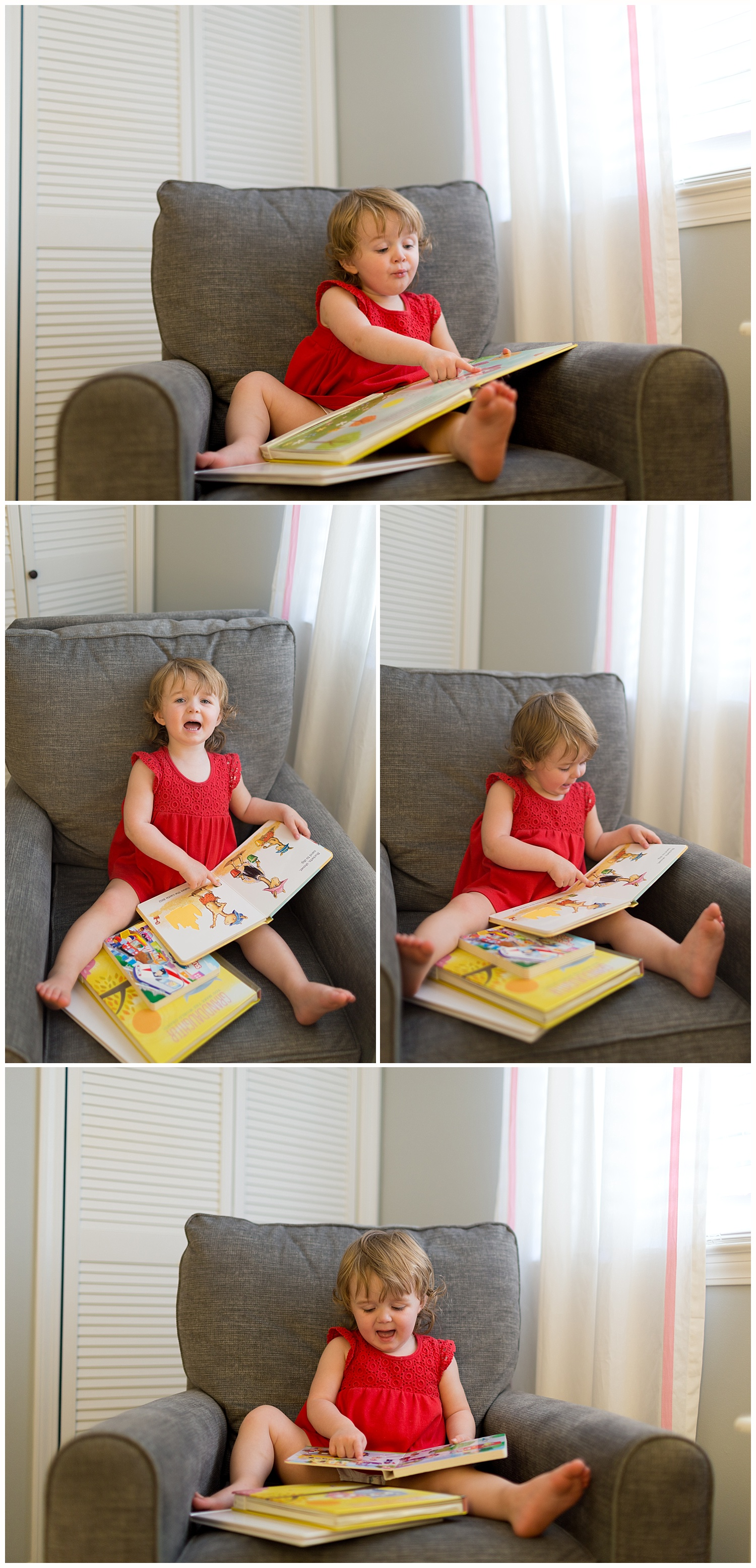 2-year-old girl reading books in bedroom