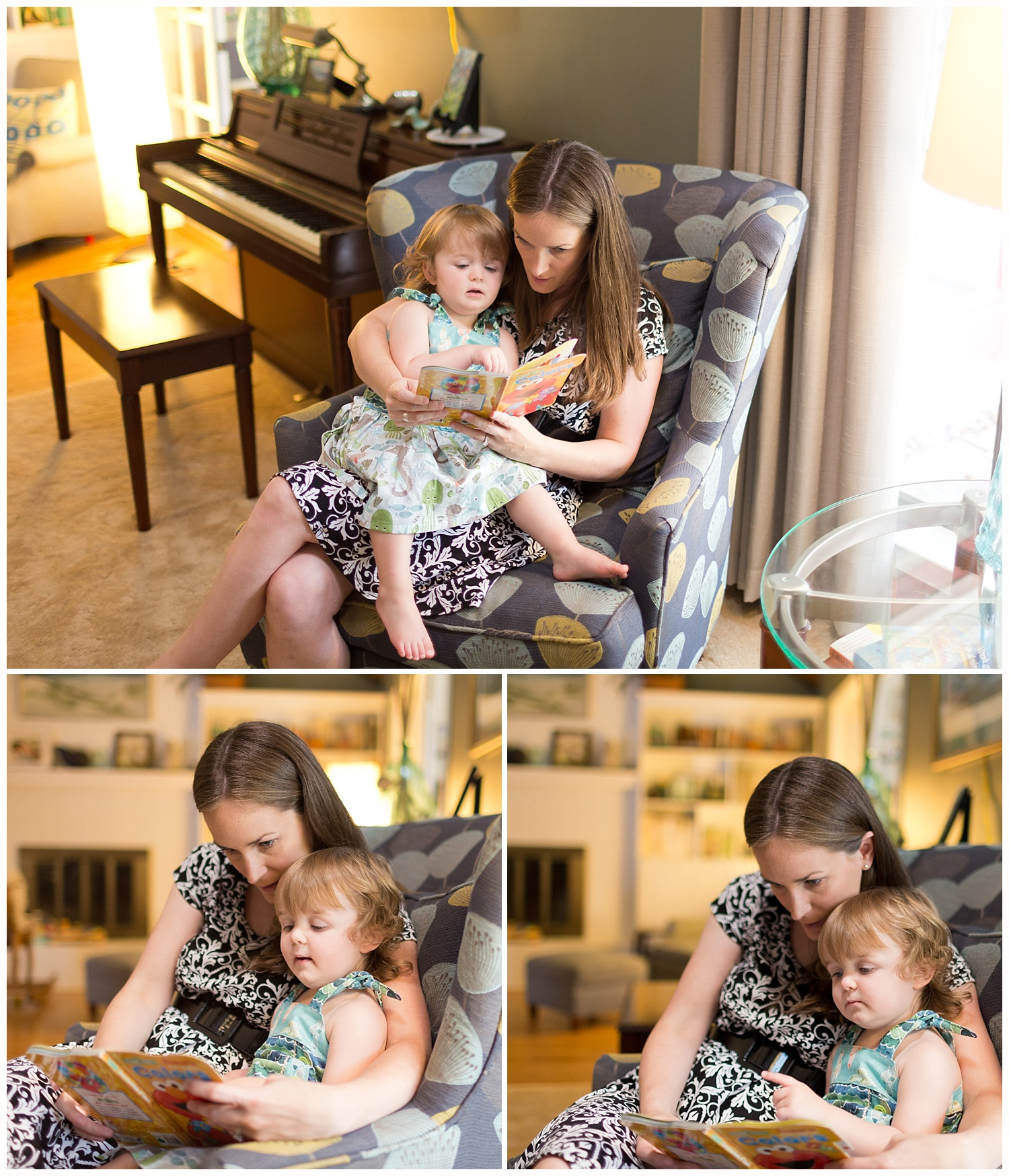 mom reading book to toddler daughter