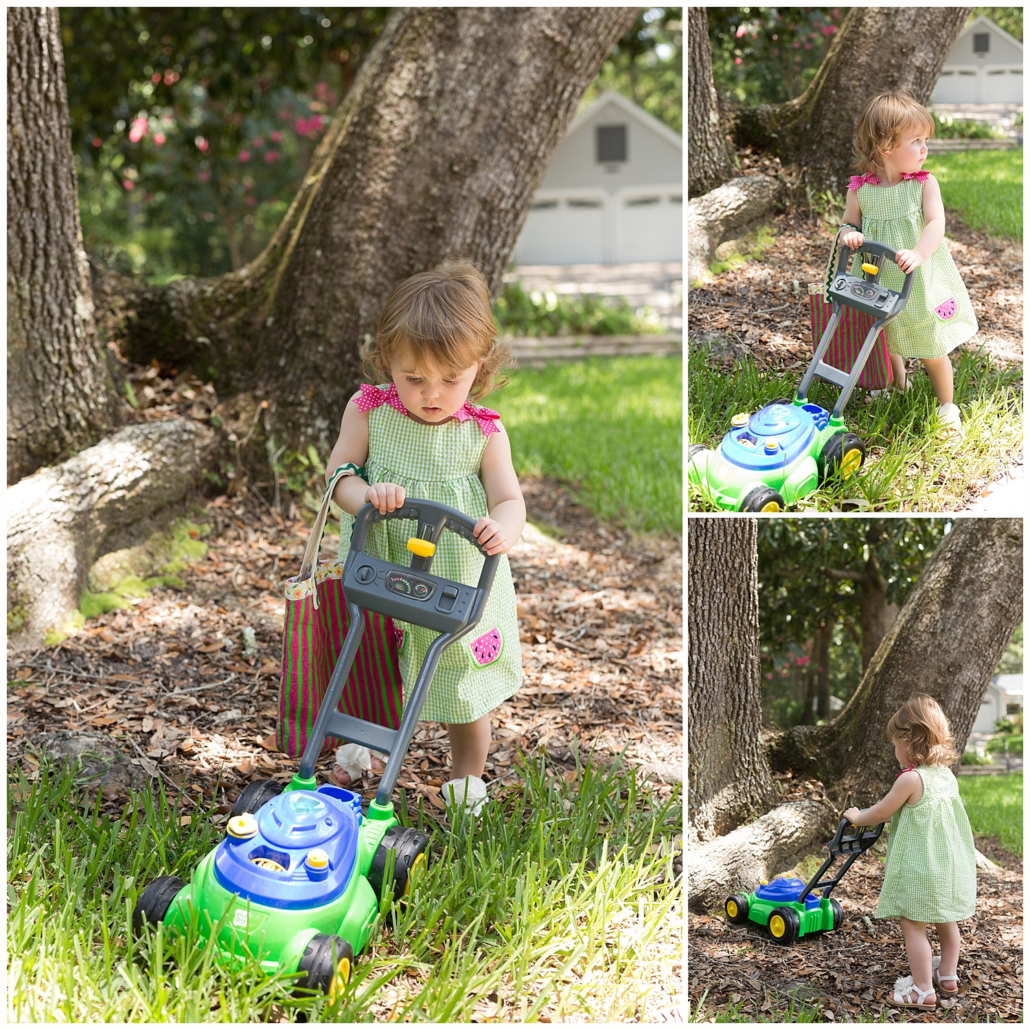 toddler girl wearing dress, playing with bubble mower