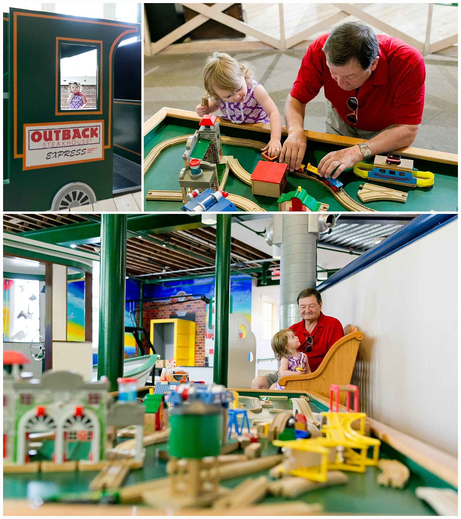 grandfather and toddler granddaughter playing with trains at Lynn Meadows Discovery Center