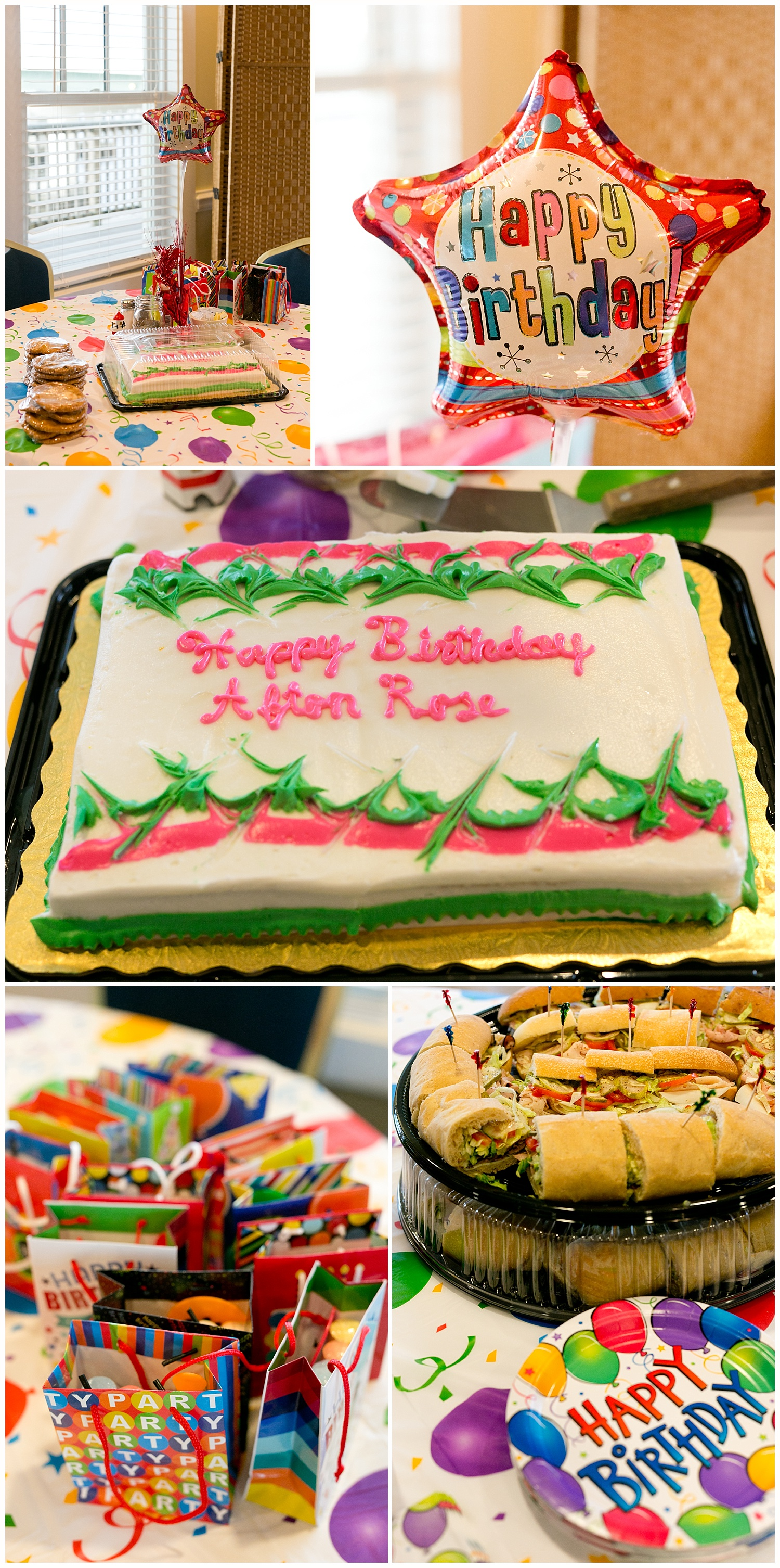 classic birthday party decorations - cake, balloon, gift bags