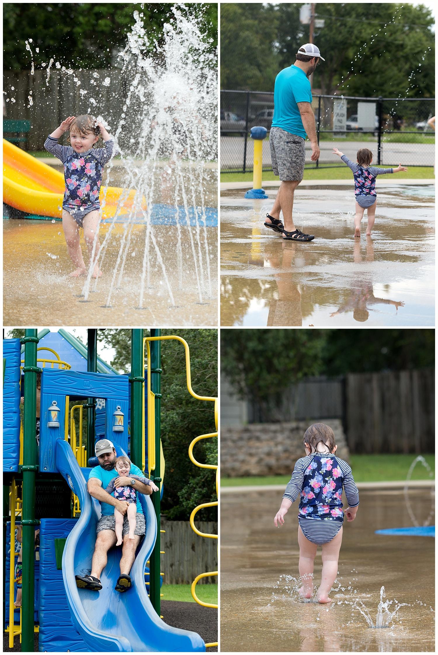 dad and daughter at Ocean Springs splash park